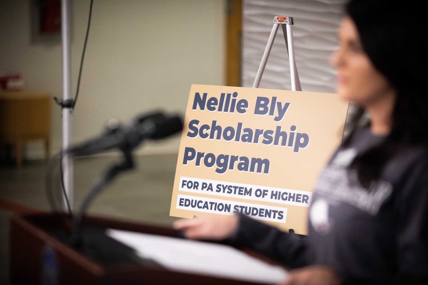 """<a href=""""https://filesource.wostreaming.net/commonwealthofpa/photo/17763_gov_highered_dz_017.jpg"""" target=""""_blank"""">⇣Download Photo<br></a>Lock Haven University student Kalista Swartz speaks at the event. Governor Tom Wolf visited Lock Haven University today to launch a tour of the 14 state-owned universities and discuss his proposal to help thousands of low- and middle-class students afford their dream of a college education. Lock Haven, PA  February 12, 2020"""
