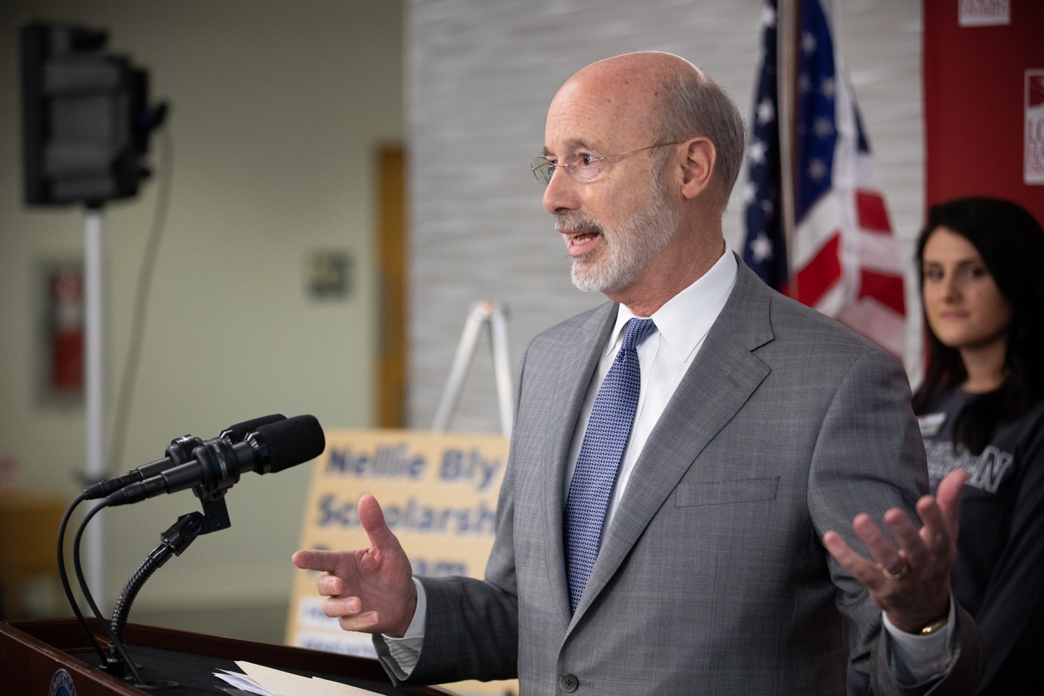 """<a href=""""https://filesource.wostreaming.net/commonwealthofpa/photo/17763_gov_highered_dz_018.jpg"""" target=""""_blank"""">⇣Download Photo<br></a>Governor Tom Wolf speaks to students at Lock Haven University.  Governor Tom Wolf visited Lock Haven University today to launch a tour of the 14 state-owned universities and discuss his proposal to help thousands of low- and middle-class students afford their dream of a college education. Lock Haven, PA  February 12, 2020"""