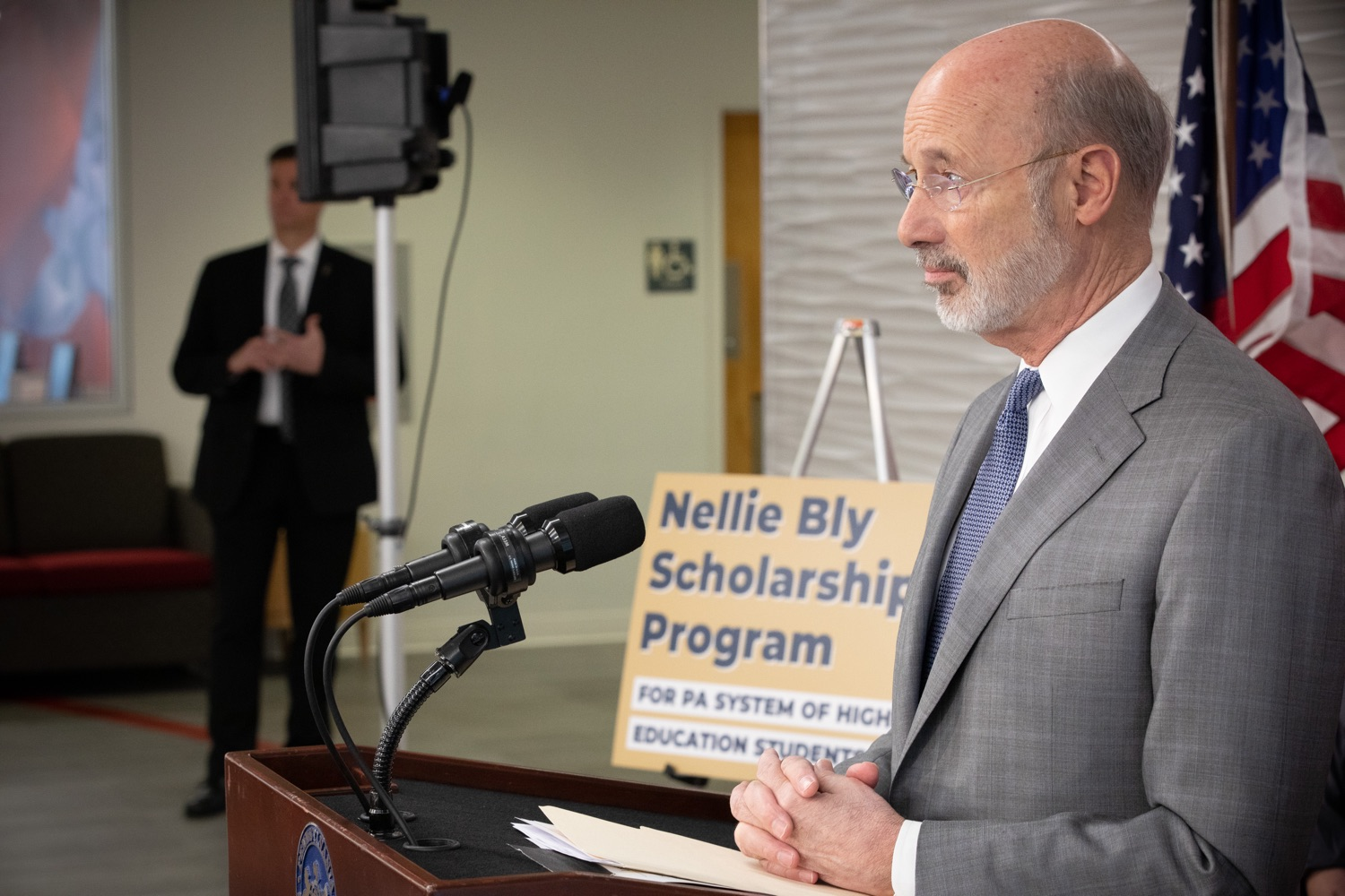 """<a href=""""https://filesource.wostreaming.net/commonwealthofpa/photo/17763_gov_highered_dz_019.jpg"""" target=""""_blank"""">⇣Download Photo<br></a>Governor Tom Wolf speaks to students at Lock Haven University.  Governor Tom Wolf visited Lock Haven University today to launch a tour of the 14 state-owned universities and discuss his proposal to help thousands of low- and middle-class students afford their dream of a college education. Lock Haven, PA  February 12, 2020"""