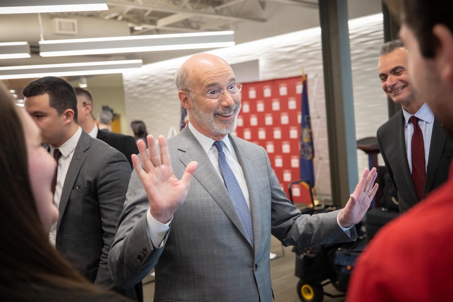 """<a href=""""https://filesource.wostreaming.net/commonwealthofpa/photo/17763_gov_highered_dz_023.jpg"""" target=""""_blank"""">⇣Download Photo<br></a>Governor Tom Wolf speaks to students at Lock Haven University.  Governor Tom Wolf visited Lock Haven University today to launch a tour of the 14 state-owned universities and discuss his proposal to help thousands of low- and middle-class students afford their dream of a college education. Lock Haven, PA  February 12, 2020"""