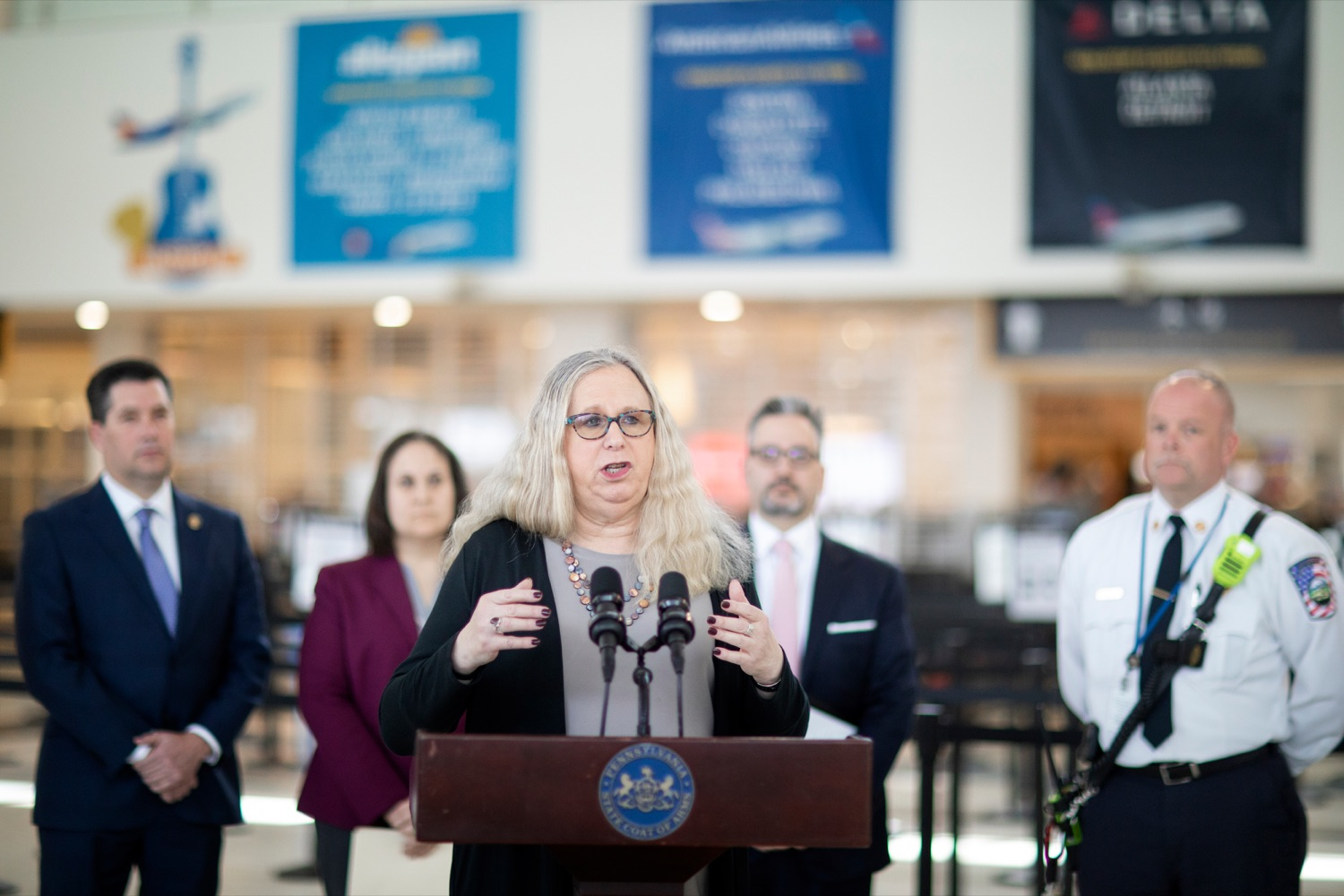 "<a href=""https://filesource.wostreaming.net/commonwealthofpa/photo/17806_DOH_Naloxone_Airports_NK_002.JPG"" target=""_blank"">⇣ Download Photo<br></a>Pennsylvania Department of Health Secretary Dr. Rachel Levine speaks at a press conference, which announced that the Wolf Administration will be providing free naloxone to Pennsylvania airports as part of an ongoing effort to expand access to the life-saving medication and decrease opioid overdoses across the commonwealth, inside Harrisburg International Airport on Thursday, February 27, 2020."