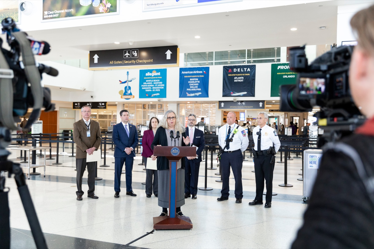 "<a href=""https://filesource.wostreaming.net/commonwealthofpa/photo/17806_DOH_Naloxone_Airports_NK_006.JPG"" target=""_blank"">⇣ Download Photo<br></a>Pennsylvania Department of Health Secretary Dr. Rachel Levine speaks at a press conference, which announced that the Wolf Administration will be providing free naloxone to Pennsylvania airports as part of an ongoing effort to expand access to the life-saving medication and decrease opioid overdoses across the commonwealth, inside Harrisburg International Airport on Thursday, February 27, 2020."