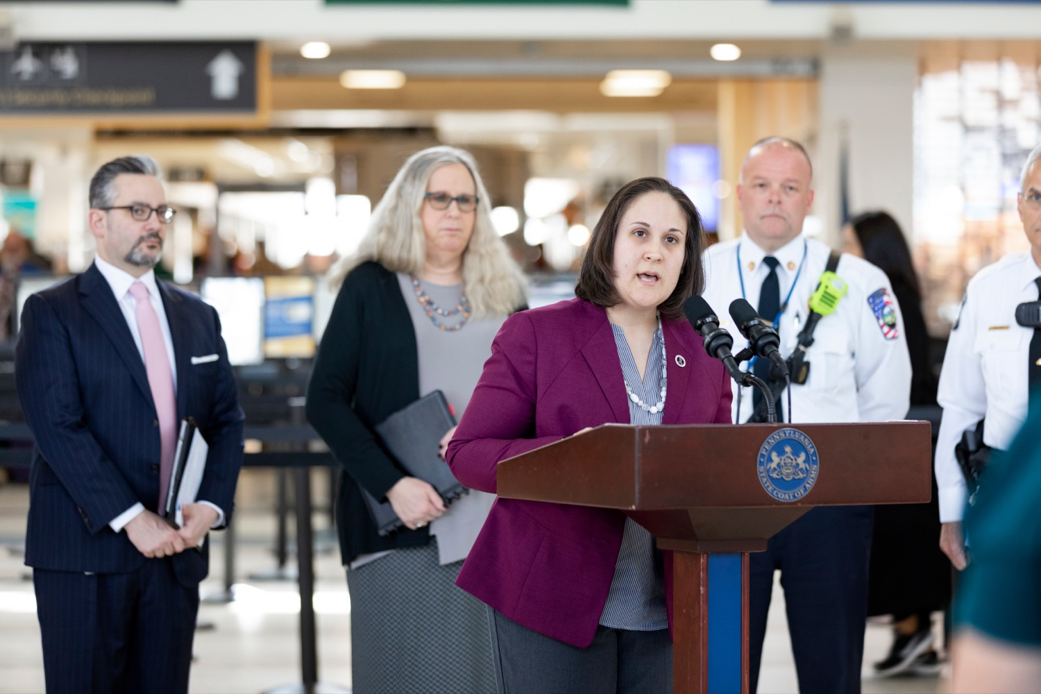 "<a href=""https://filesource.wostreaming.net/commonwealthofpa/photo/17806_DOH_Naloxone_Airports_NK_008.JPG"" target=""_blank"">⇣ Download Photo<br></a>Jen Smith, secretary of the Pennsylvania Department of Drug and Alcohol Programs, speaks at a press conference, which announced that the Wolf Administration will be providing free naloxone to Pennsylvania airports as part of an ongoing effort to expand access to the life-saving medication and decrease opioid overdoses across the commonwealth, inside Harrisburg International Airport on Thursday, February 27, 2020."