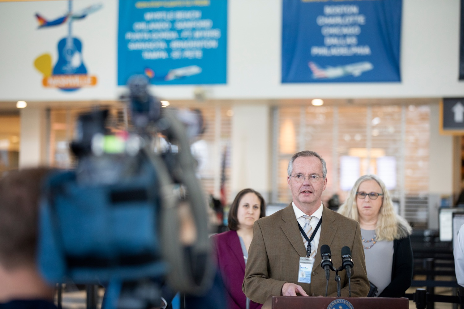 "<a href=""https://filesource.wostreaming.net/commonwealthofpa/photo/17806_DOH_Naloxone_Airports_NK_009.JPG"" target=""_blank"">⇣ Download Photo<br></a>Tim Edwards, executive director of the Susquehanna Area Regional Airport Authority, speaks at a press conference, which announced that the Wolf Administration will be providing free naloxone to Pennsylvania airports as part of an ongoing effort to expand access to the life-saving medication and decrease opioid overdoses across the commonwealth, inside Harrisburg International Airport on Thursday, February 27, 2020."