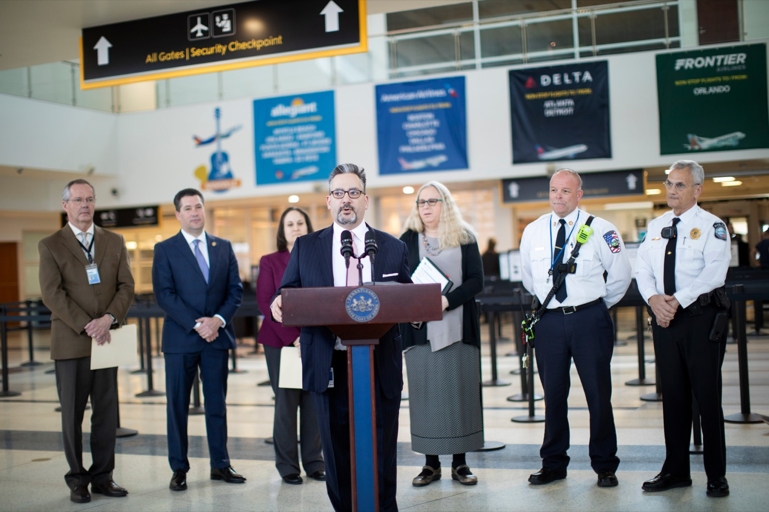 "<a href=""https://filesource.wostreaming.net/commonwealthofpa/photo/17806_DOH_Naloxone_Airports_NK_010.JPG"" target=""_blank"">⇣ Download Photo<br></a>Ray Barishansky, deputy secretary for Health Preparedness and Community Protection with the Pennsylvania Department of Health, speaks at a press conference, which announced that the Wolf Administration will be providing free naloxone to Pennsylvania airports as part of an ongoing effort to expand access to the life-saving medication and decrease opioid overdoses across the commonwealth, inside Harrisburg International Airport on Thursday, February 27, 2020."