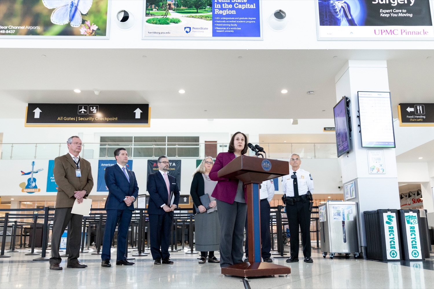 "<a href=""https://filesource.wostreaming.net/commonwealthofpa/photo/17806_DOH_Naloxone_Airports_NK_012.JPG"" target=""_blank"">⇣ Download Photo<br></a>Jen Smith, secretary of the Pennsylvania Department of Drug and Alcohol Programs, speaks at a press conference, which announced that the Wolf Administration will be providing free naloxone to Pennsylvania airports as part of an ongoing effort to expand access to the life-saving medication and decrease opioid overdoses across the commonwealth, inside Harrisburg International Airport on Thursday, February 27, 2020."