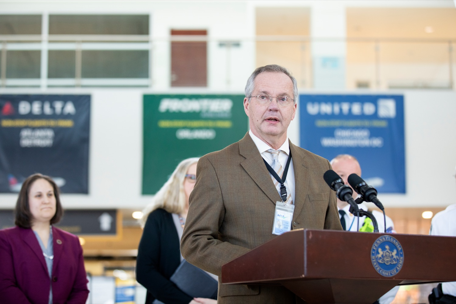 "<a href=""https://filesource.wostreaming.net/commonwealthofpa/photo/17806_DOH_Naloxone_Airports_NK_013.JPG"" target=""_blank"">⇣ Download Photo<br></a>Tim Edwards, executive director of the Susquehanna Area Regional Airport Authority, speaks at a press conference, which announced that the Wolf Administration will be providing free naloxone to Pennsylvania airports as part of an ongoing effort to expand access to the life-saving medication and decrease opioid overdoses across the commonwealth, inside Harrisburg International Airport on Thursday, February 27, 2020."