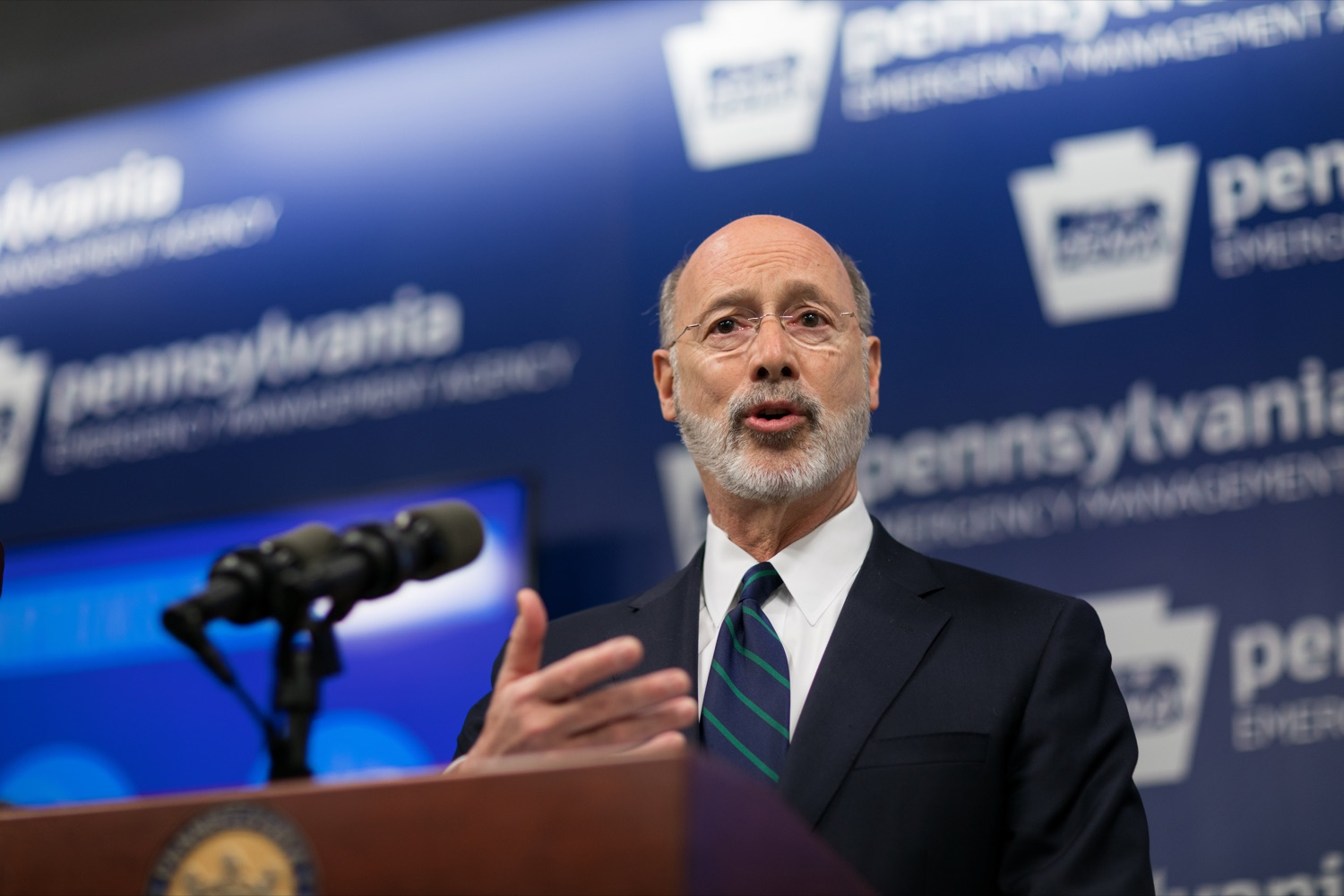 "<a href=""https://filesource.wostreaming.net/commonwealthofpa/photo/17857_GOV_DOH_Coronavirus_NK_001.JPG"" target=""_blank"">⇣ Download Photo<br></a>Gov. Tom Wolf speaks during a press conference, which confirmed the first two presumptive positive cases of 2019 Novel Coronavirus (COVID-19) in Pennsylvania and reminded residents that the commonwealth is prepared to respond to community spread of this virus, inside PEMA headquarters on Wednesday, March 4, 2020."