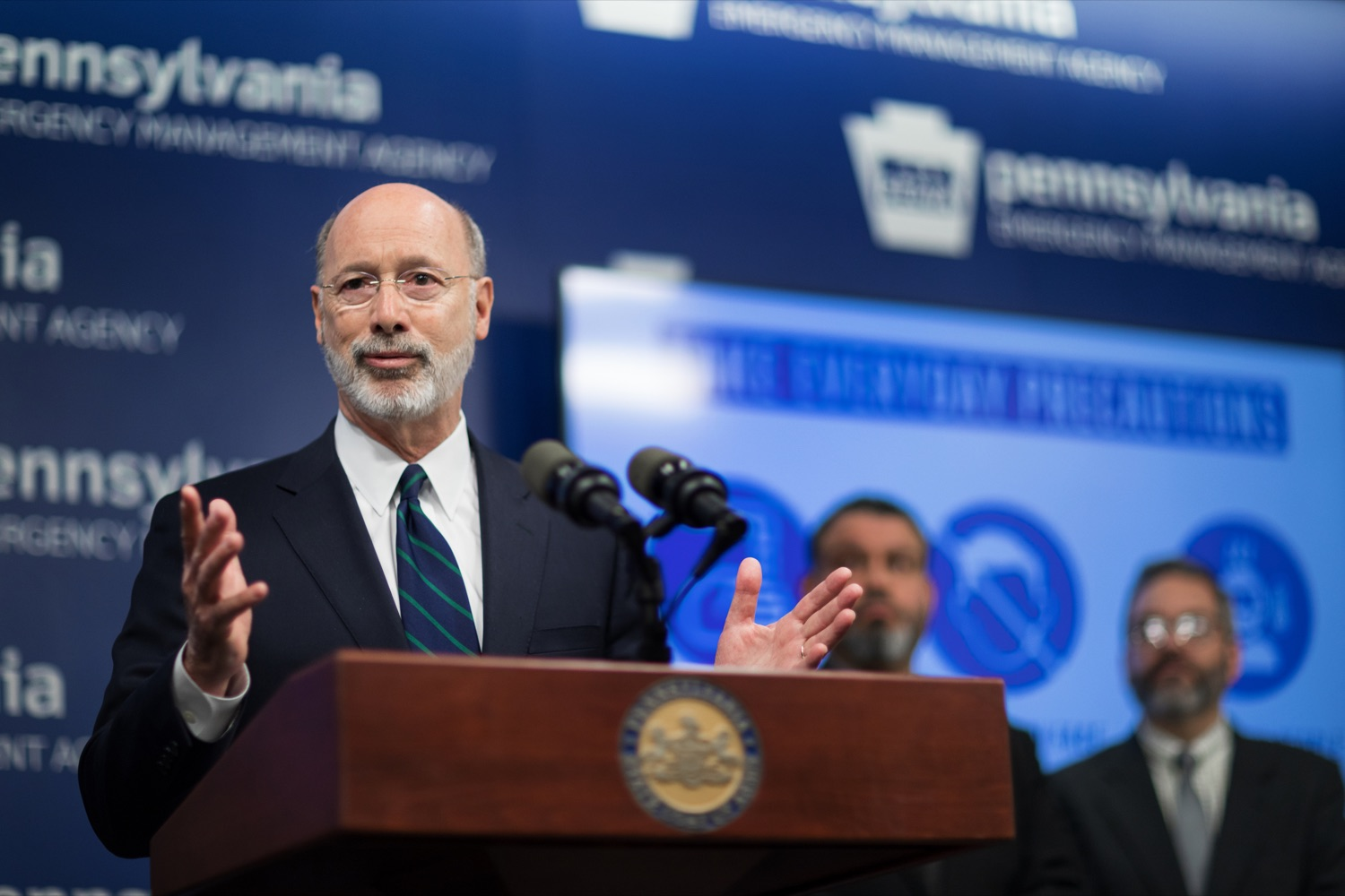 "<a href=""https://filesource.wostreaming.net/commonwealthofpa/photo/17857_GOV_DOH_Coronavirus_NK_006.JPG"" target=""_blank"">⇣ Download Photo<br></a>Gov. Tom Wolf speaks during a press conference, which confirmed the first two presumptive positive cases of 2019 Novel Coronavirus (COVID-19) in Pennsylvania and reminded residents that the commonwealth is prepared to respond to community spread of this virus, inside PEMA headquarters on Wednesday, March 4, 2020."