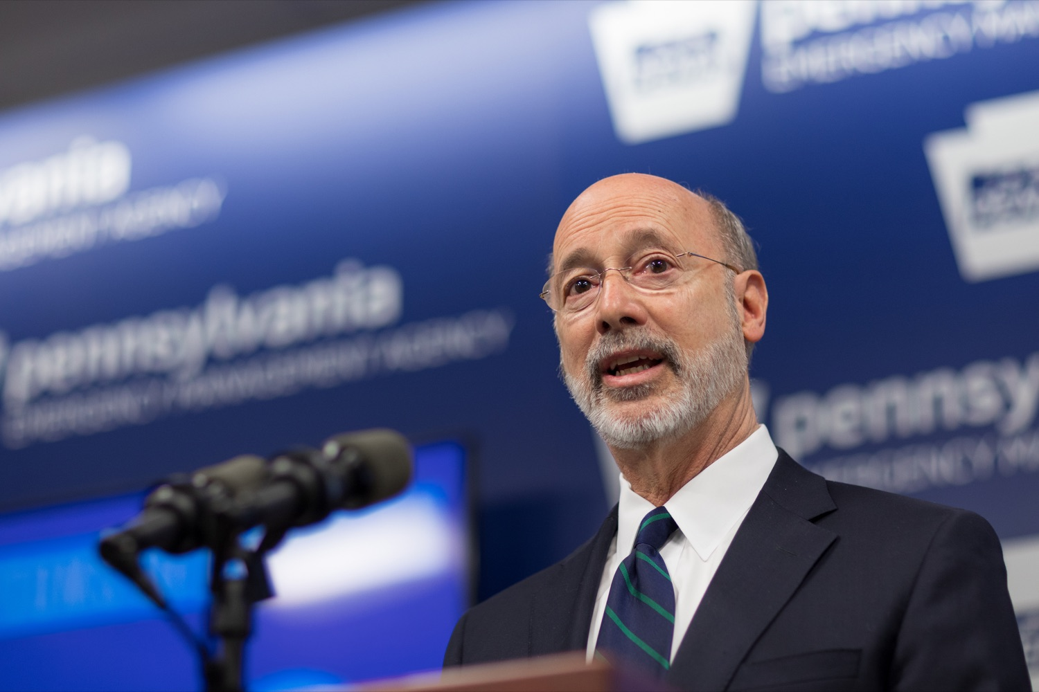 "<a href=""https://filesource.wostreaming.net/commonwealthofpa/photo/17857_GOV_DOH_Coronavirus_NK_013.JPG"" target=""_blank"">⇣ Download Photo<br></a>Gov. Tom Wolf speaks during a press conference, which confirmed the first two presumptive positive cases of 2019 Novel Coronavirus (COVID-19) in Pennsylvania and reminded residents that the commonwealth is prepared to respond to community spread of this virus, inside PEMA headquarters on Wednesday, March 4, 2020."