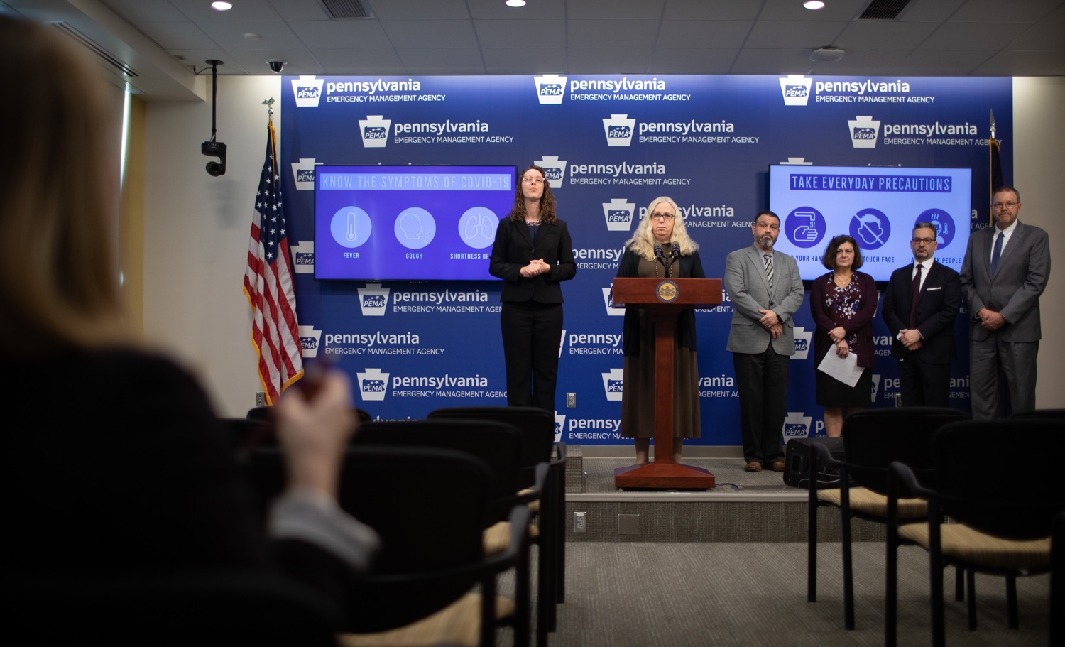 "<a href=""https://filesource.wostreaming.net/commonwealthofpa/photo/17868_doh_update_corona_dz_0004.jpg"" target=""_blank"">⇣ Download Photo<br></a>Secretary of Health Dr. Rachel Levine answering questions from members of the press. The Pennsylvania Department of Health today confirmed three additional presumptive positive cases of COVID-19  two residents are from Montgomery County and one is from Monroe County. .MARCH 09, 2020 - HARRISBURG, PA."