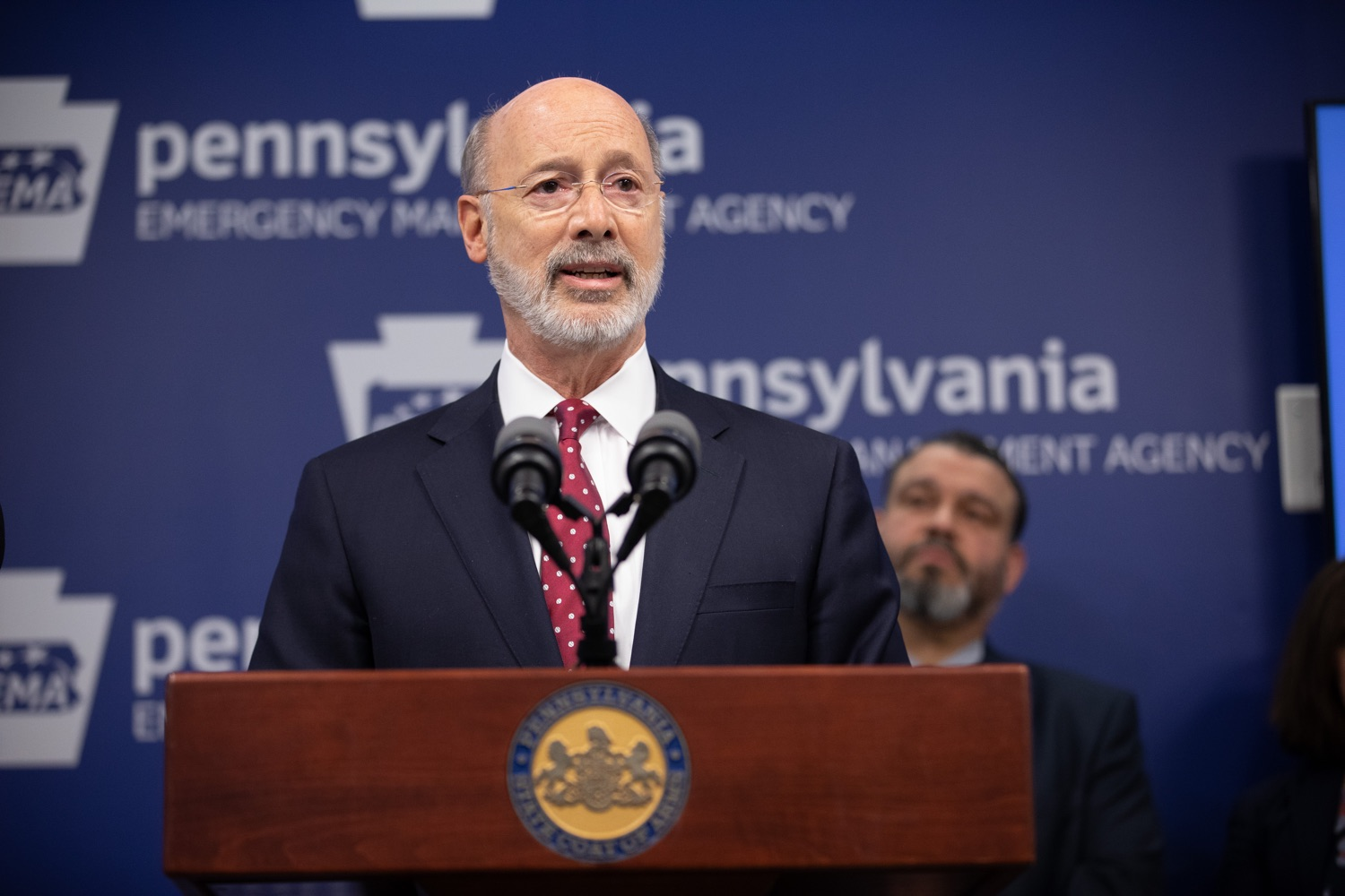 "<a href=""https://filesource.wostreaming.net/commonwealthofpa/photo/17886_gov_covid19_update_dz_0001.jpg"" target=""_blank"">⇣ Download Photo<br></a>Governor Tom Wolf  speaking to reporters. Governor Tom Wolf, United States Representative for Pennsylvanias 6thCongressional District Chrissy Houlahan, Secretary of Health Dr. Rachel Levine, and Secretary of Education Pedro Rivera provided an update on the coronavirus known as COVID-19 and outline ongoing efforts to mitigate the virus in Pennsylvania.  March 14, 2020  Harrisburg, PA"
