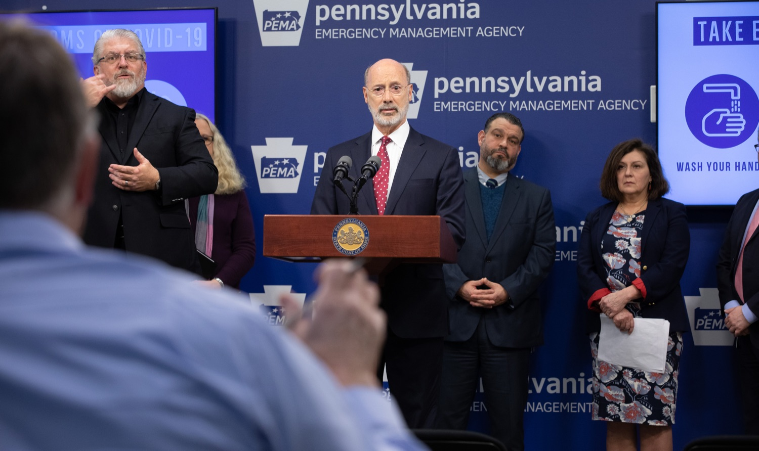 "<a href=""https://filesource.wostreaming.net/commonwealthofpa/photo/17886_gov_covid19_update_dz_0006.jpg"" target=""_blank"">⇣ Download Photo<br></a>Governor Tom Wolf  speaking to reporters. Governor Tom Wolf, United States Representative for Pennsylvanias 6thCongressional District Chrissy Houlahan, Secretary of Health Dr. Rachel Levine, and Secretary of Education Pedro Rivera provided an update on the coronavirus known as COVID-19 and outline ongoing efforts to mitigate the virus in Pennsylvania.  March 14, 2020  Harrisburg, PA"