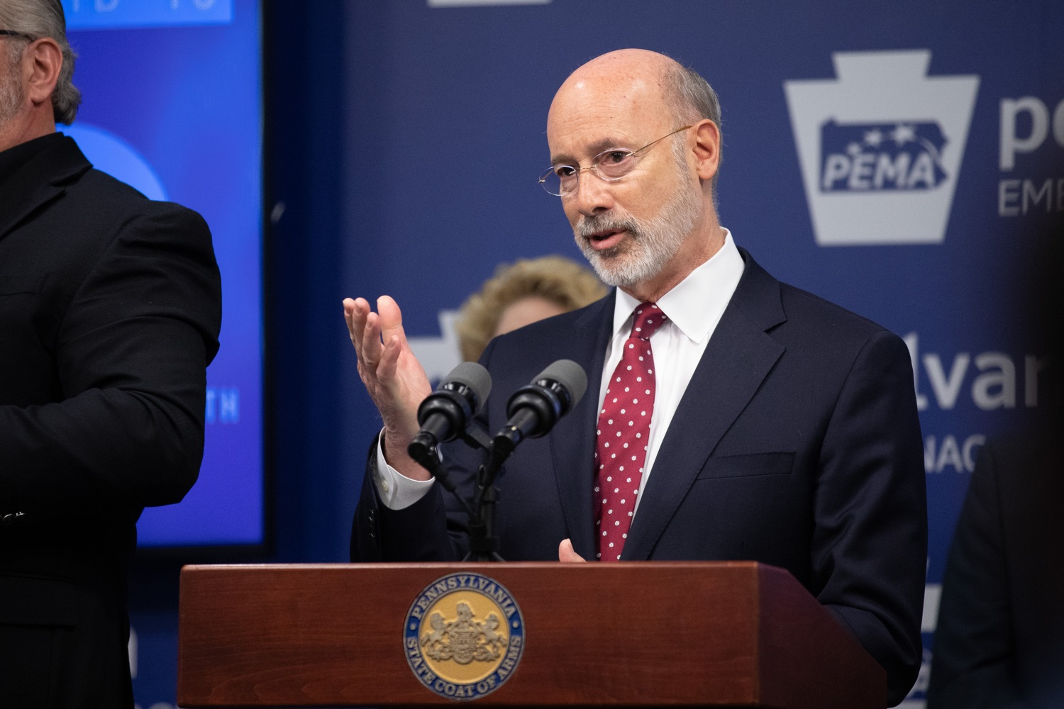 "<a href=""https://filesource.wostreaming.net/commonwealthofpa/photo/17886_gov_covid19_update_dz_0008.jpg"" target=""_blank"">⇣ Download Photo<br></a>Governor Tom Wolf  speaking to reporters. Governor Tom Wolf, United States Representative for Pennsylvanias 6thCongressional District Chrissy Houlahan, Secretary of Health Dr. Rachel Levine, and Secretary of Education Pedro Rivera provided an update on the coronavirus known as COVID-19 and outline ongoing efforts to mitigate the virus in Pennsylvania.  March 14, 2020  Harrisburg, PA"