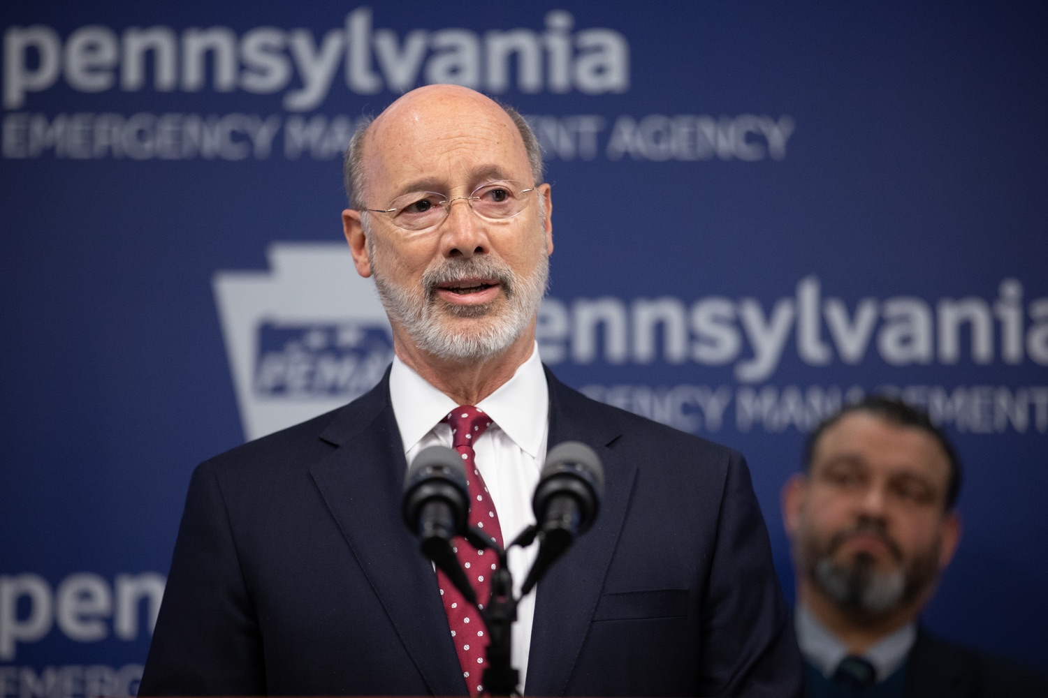 "<a href=""https://filesource.wostreaming.net/commonwealthofpa/photo/17886_gov_covid19_update_dz_0011.jpg"" target=""_blank"">⇣ Download Photo<br></a>Governor Tom Wolf  speaking to reporters. Governor Tom Wolf, United States Representative for Pennsylvanias 6thCongressional District Chrissy Houlahan, Secretary of Health Dr. Rachel Levine, and Secretary of Education Pedro Rivera provided an update on the coronavirus known as COVID-19 and outline ongoing efforts to mitigate the virus in Pennsylvania.  March 14, 2020  Harrisburg, PA"