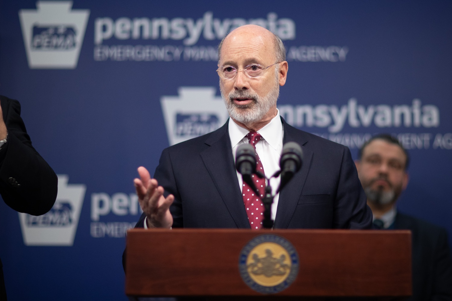 "<a href=""https://filesource.wostreaming.net/commonwealthofpa/photo/17886_gov_covid19_update_dz_0014.jpg"" target=""_blank"">⇣ Download Photo<br></a>Governor Tom Wolf  speaking to reporters. Governor Tom Wolf, United States Representative for Pennsylvanias 6thCongressional District Chrissy Houlahan, Secretary of Health Dr. Rachel Levine, and Secretary of Education Pedro Rivera provided an update on the coronavirus known as COVID-19 and outline ongoing efforts to mitigate the virus in Pennsylvania.  March 14, 2020  Harrisburg, PA"