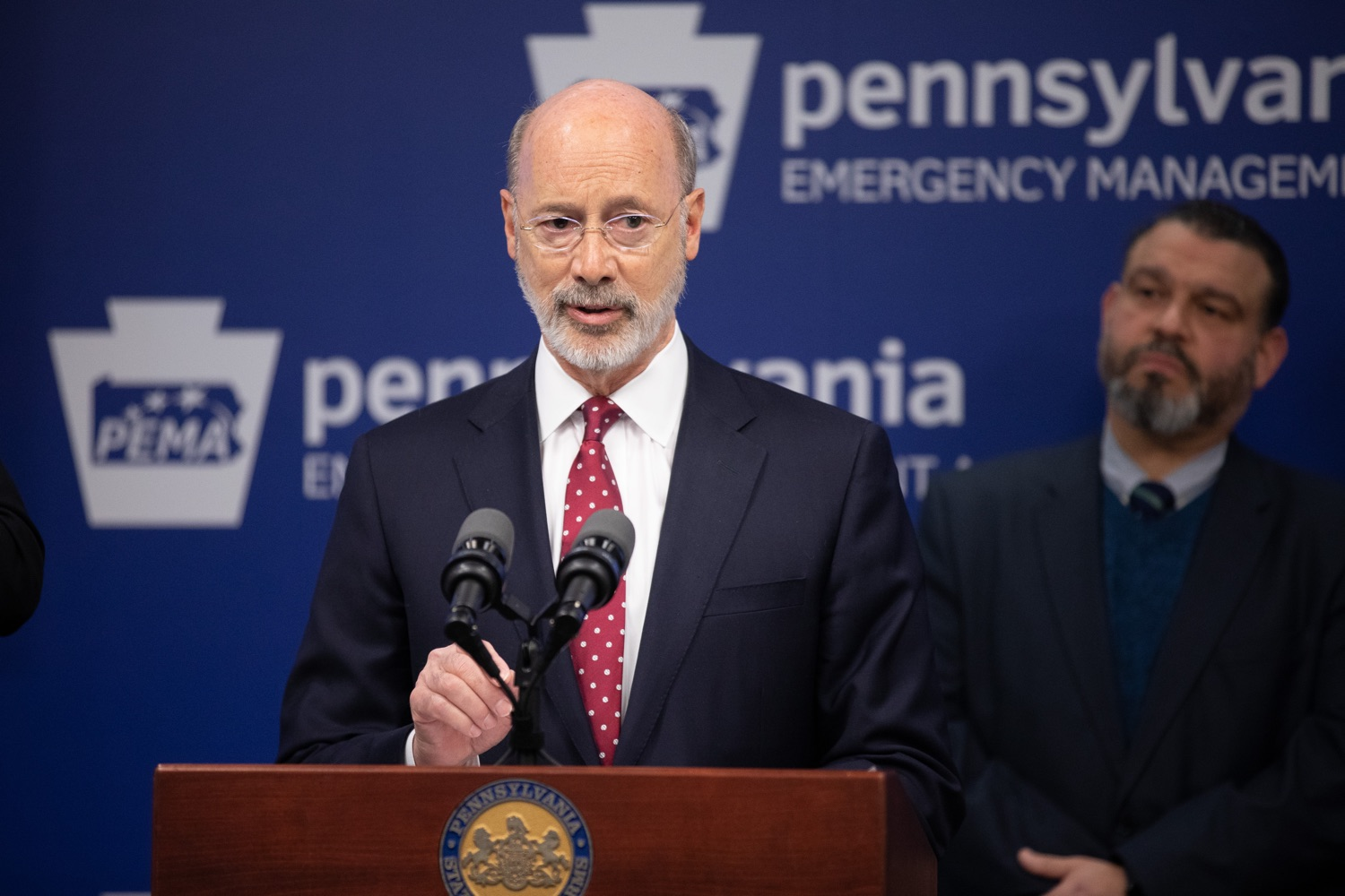 "<a href=""https://filesource.wostreaming.net/commonwealthofpa/photo/17886_gov_covid19_update_dz_0016.jpg"" target=""_blank"">⇣ Download Photo<br></a>Governor Tom Wolf  speaking to reporters. Governor Tom Wolf, United States Representative for Pennsylvanias 6thCongressional District Chrissy Houlahan, Secretary of Health Dr. Rachel Levine, and Secretary of Education Pedro Rivera provided an update on the coronavirus known as COVID-19 and outline ongoing efforts to mitigate the virus in Pennsylvania.  March 14, 2020  Harrisburg, PA"