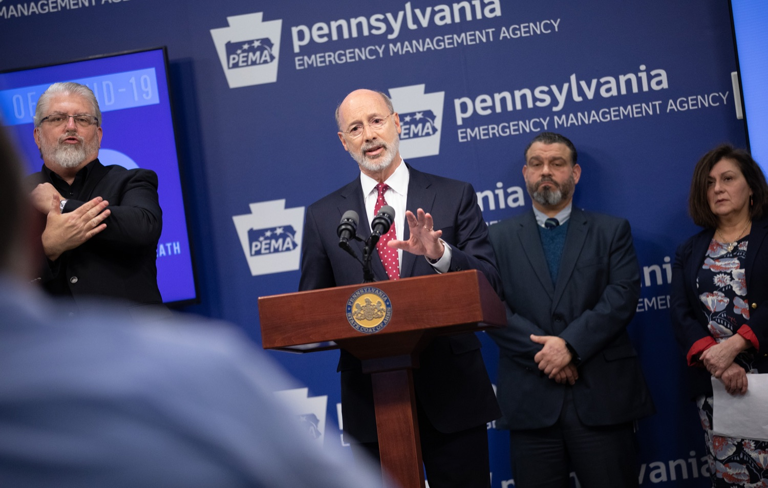 "<a href=""https://filesource.wostreaming.net/commonwealthofpa/photo/17886_gov_covid19_update_dz_0018.jpg"" target=""_blank"">⇣ Download Photo<br></a>Governor Tom Wolf  speaking to reporters. Governor Tom Wolf, United States Representative for Pennsylvanias 6thCongressional District Chrissy Houlahan, Secretary of Health Dr. Rachel Levine, and Secretary of Education Pedro Rivera provided an update on the coronavirus known as COVID-19 and outline ongoing efforts to mitigate the virus in Pennsylvania.  March 14, 2020  Harrisburg, PA"