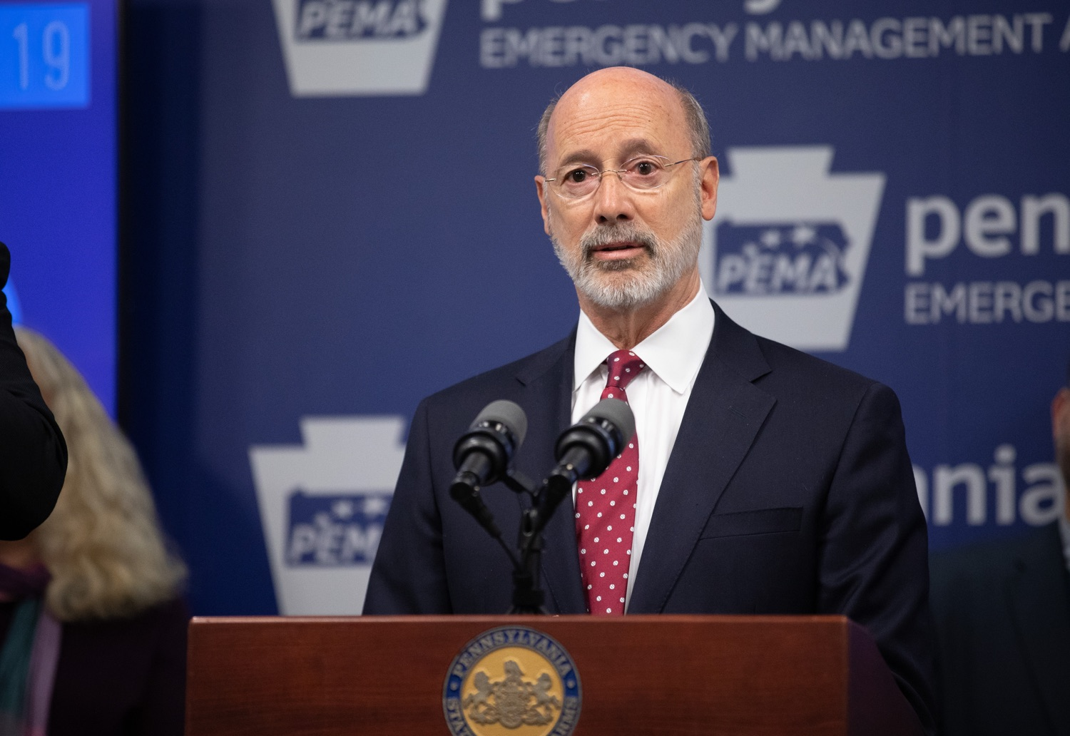 "<a href=""https://filesource.wostreaming.net/commonwealthofpa/photo/17886_gov_covid19_update_dz_0019.jpg"" target=""_blank"">⇣ Download Photo<br></a>Governor Tom Wolf  speaking to reporters. Governor Tom Wolf, United States Representative for Pennsylvanias 6thCongressional District Chrissy Houlahan, Secretary of Health Dr. Rachel Levine, and Secretary of Education Pedro Rivera provided an update on the coronavirus known as COVID-19 and outline ongoing efforts to mitigate the virus in Pennsylvania.  March 14, 2020  Harrisburg, PA"