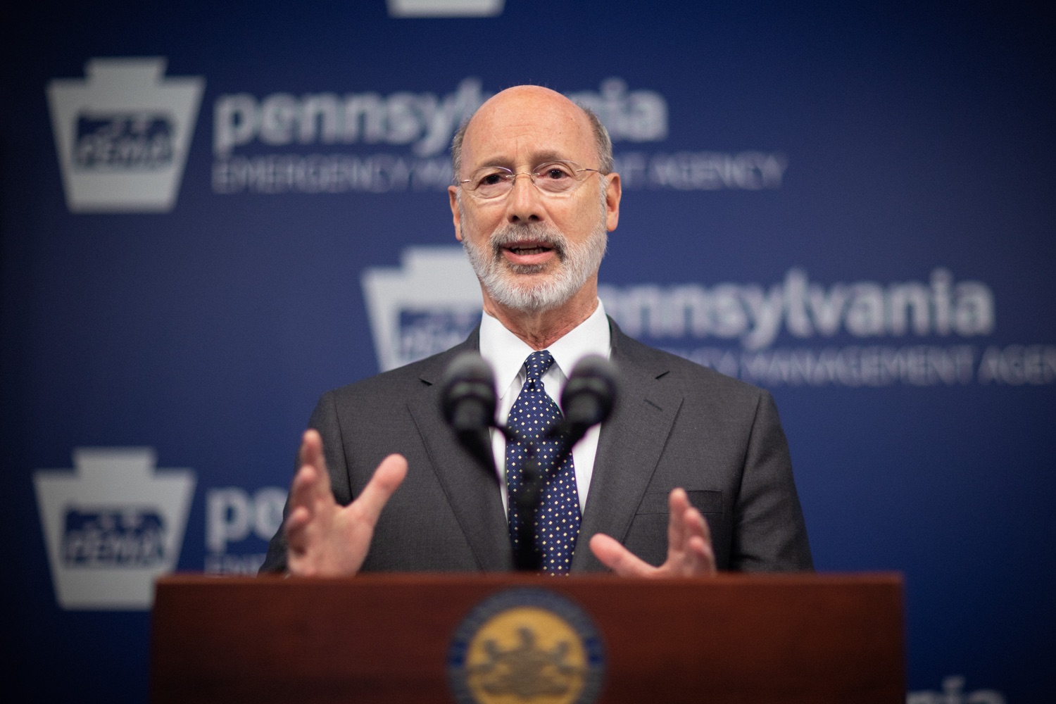 """<a href=""""https://filesource.wostreaming.net/commonwealthofpa/photo/17888_gov_covid19_update_dz_0001.jpg"""" target=""""_blank"""">⇣Download Photo<br></a>Governor Tom Wolf  speaking to reporters. Governor Tom Wolf and Secretary of Health Dr. Rachel Levine provided an update on the coronavirus known as COVID-19 and outline ongoing efforts to mitigate the virus in Pennsylvania. The Department of Health anticipates that there will be more Pennsylvanians who test positive for COVID-19 in the coming days and weeks and it is important for residents to know the commonwealth is prepared and to be prepared themselves. People have a higher chance of testing positive for COVID-19 if they have traveled to a country or state with known community outbreaks or have come in contact with someone who has the virus. The Wolf Administration is working with the health care community across Pennsylvania to keep them informed, consult on patient testing, and ensure they have the resources they need to care for patients. .March 16, 2020  Harrisburg Pa."""