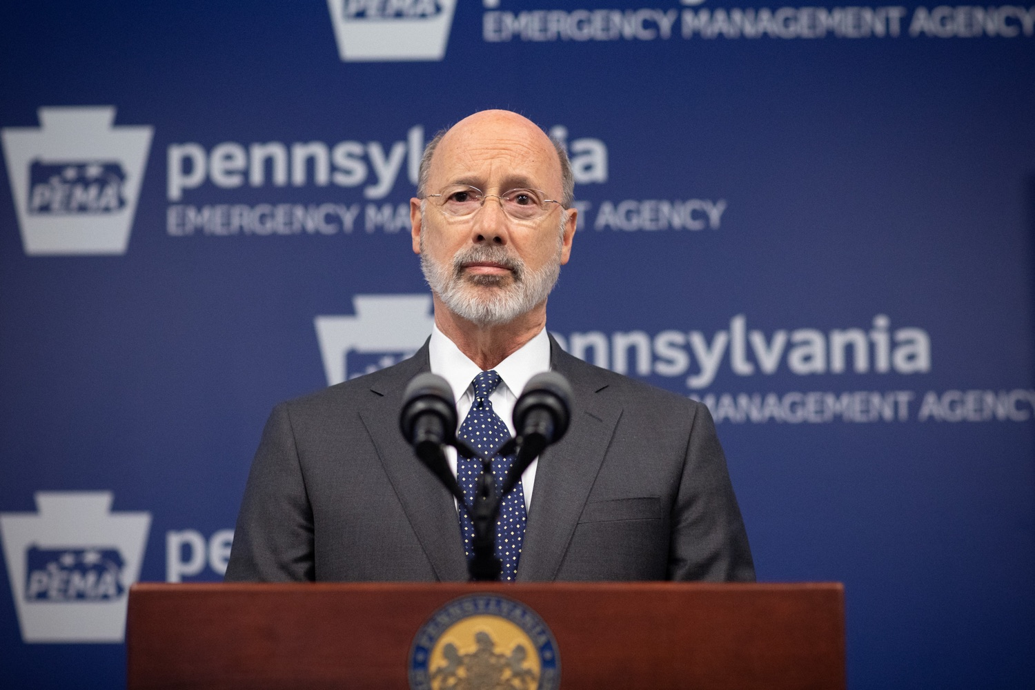 """<a href=""""https://filesource.wostreaming.net/commonwealthofpa/photo/17888_gov_covid19_update_dz_0002.jpg"""" target=""""_blank"""">⇣Download Photo<br></a>Governor Tom Wolf  speaking to reporters. Governor Tom Wolf and Secretary of Health Dr. Rachel Levine provided an update on the coronavirus known as COVID-19 and outline ongoing efforts to mitigate the virus in Pennsylvania. The Department of Health anticipates that there will be more Pennsylvanians who test positive for COVID-19 in the coming days and weeks and it is important for residents to know the commonwealth is prepared and to be prepared themselves. People have a higher chance of testing positive for COVID-19 if they have traveled to a country or state with known community outbreaks or have come in contact with someone who has the virus. The Wolf Administration is working with the health care community across Pennsylvania to keep them informed, consult on patient testing, and ensure they have the resources they need to care for patients. .March 16, 2020  Harrisburg Pa."""