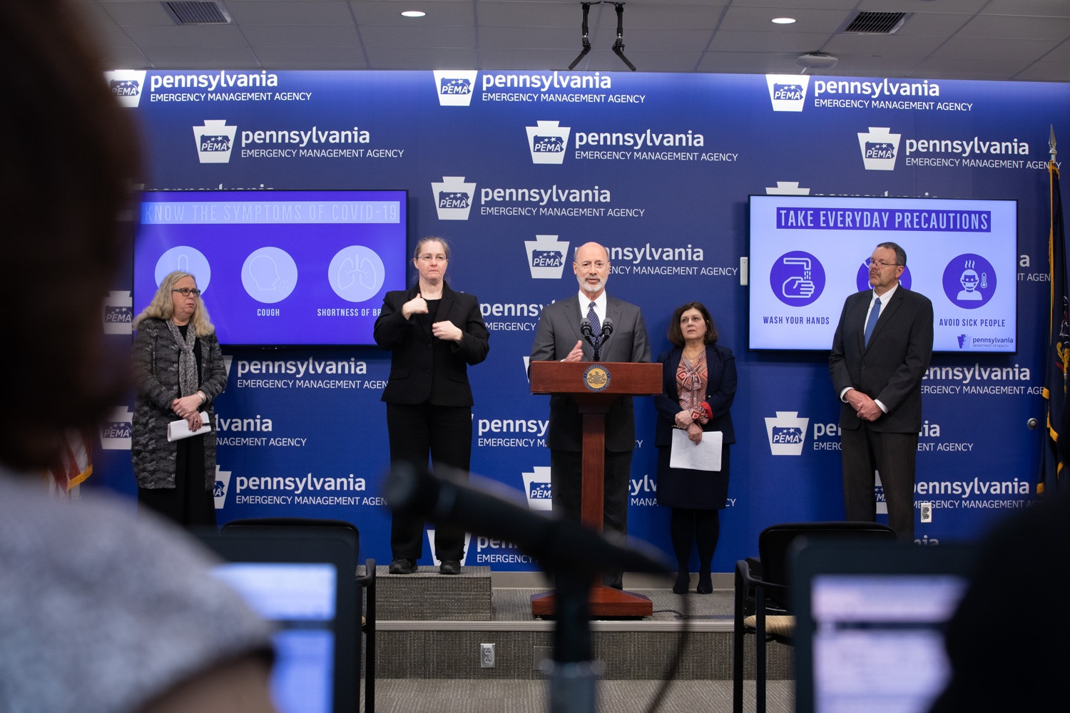 """<a href=""""https://filesource.wostreaming.net/commonwealthofpa/photo/17888_gov_covid19_update_dz_0003.jpg"""" target=""""_blank"""">⇣Download Photo<br></a>Governor Tom Wolf  answers questions submitted by reporters. Governor Tom Wolf and Secretary of Health Dr. Rachel Levine provided an update on the coronavirus known as COVID-19 and outline ongoing efforts to mitigate the virus in Pennsylvania. The Department of Health anticipates that there will be more Pennsylvanians who test positive for COVID-19 in the coming days and weeks and it is important for residents to know the commonwealth is prepared and to be prepared themselves. People have a higher chance of testing positive for COVID-19 if they have traveled to a country or state with known community outbreaks or have come in contact with someone who has the virus. The Wolf Administration is working with the health care community across Pennsylvania to keep them informed, consult on patient testing, and ensure they have the resources they need to care for patients. .March 16, 2020  Harrisburg Pa."""