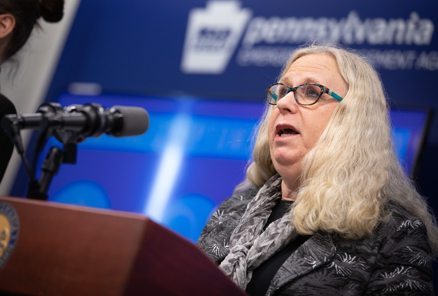 """<a href=""""https://filesource.wostreaming.net/commonwealthofpa/photo/17888_gov_covid19_update_dz_0004.jpg"""" target=""""_blank"""">⇣Download Photo<br></a>Secretary of Health Dr. Rachel Levine speaking to reporters. Governor Tom Wolf and Secretary of Health Dr. Rachel Levine provided an update on the coronavirus known as COVID-19 and outline ongoing efforts to mitigate the virus in Pennsylvania. The Department of Health anticipates that there will be more Pennsylvanians who test positive for COVID-19 in the coming days and weeks and it is important for residents to know the commonwealth is prepared and to be prepared themselves. People have a higher chance of testing positive for COVID-19 if they have traveled to a country or state with known community outbreaks or have come in contact with someone who has the virus. The Wolf Administration is working with the health care community across Pennsylvania to keep them informed, consult on patient testing, and ensure they have the resources they need to care for patients. .March 16, 2020  Harrisburg Pa."""