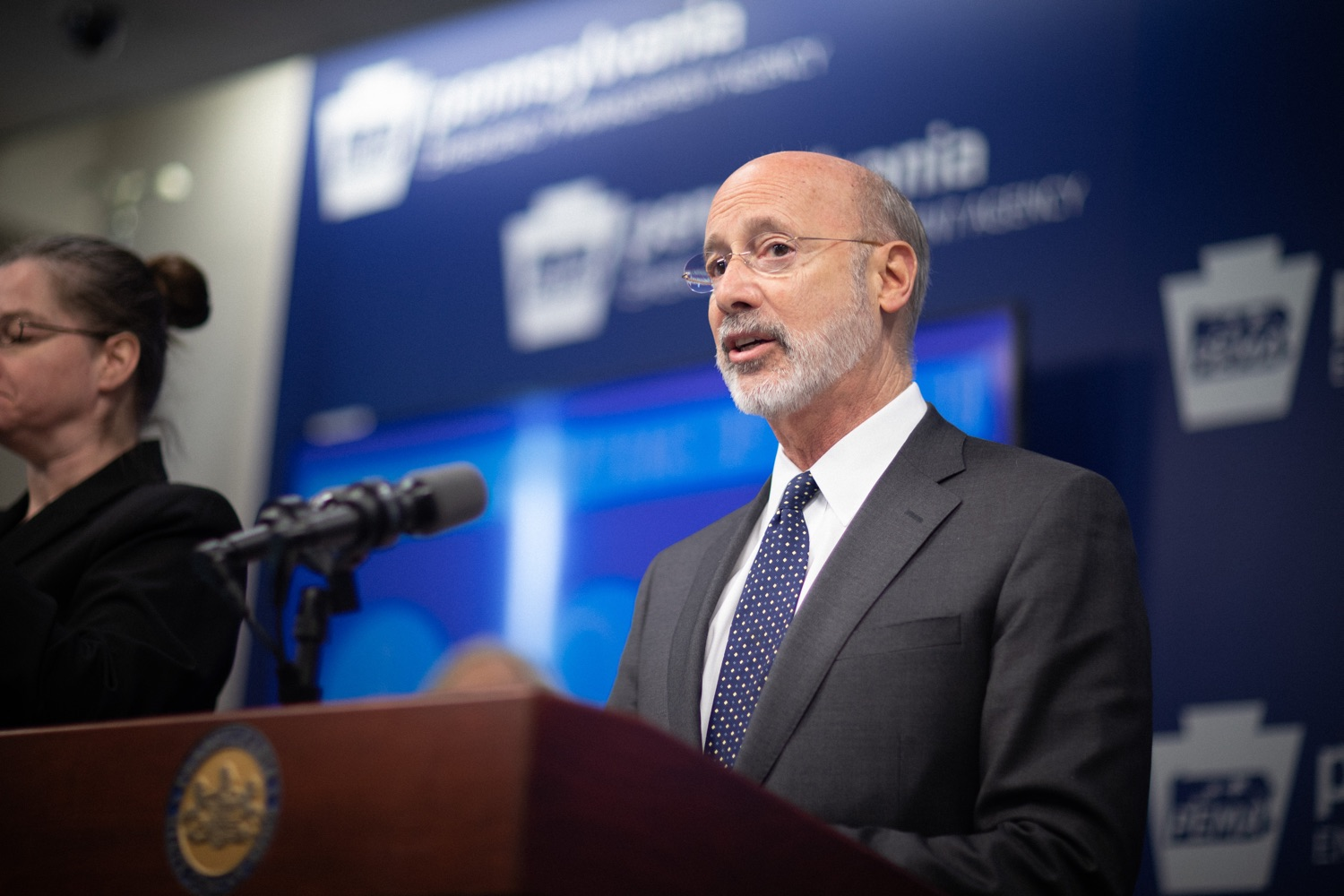 """<a href=""""https://filesource.wostreaming.net/commonwealthofpa/photo/17888_gov_covid19_update_dz_0005.jpg"""" target=""""_blank"""">⇣Download Photo<br></a>Governor Tom Wolf  speaking to reporters. Governor Tom Wolf and Secretary of Health Dr. Rachel Levine provided an update on the coronavirus known as COVID-19 and outline ongoing efforts to mitigate the virus in Pennsylvania. The Department of Health anticipates that there will be more Pennsylvanians who test positive for COVID-19 in the coming days and weeks and it is important for residents to know the commonwealth is prepared and to be prepared themselves. People have a higher chance of testing positive for COVID-19 if they have traveled to a country or state with known community outbreaks or have come in contact with someone who has the virus. The Wolf Administration is working with the health care community across Pennsylvania to keep them informed, consult on patient testing, and ensure they have the resources they need to care for patients. .March 16, 2020  Harrisburg Pa."""