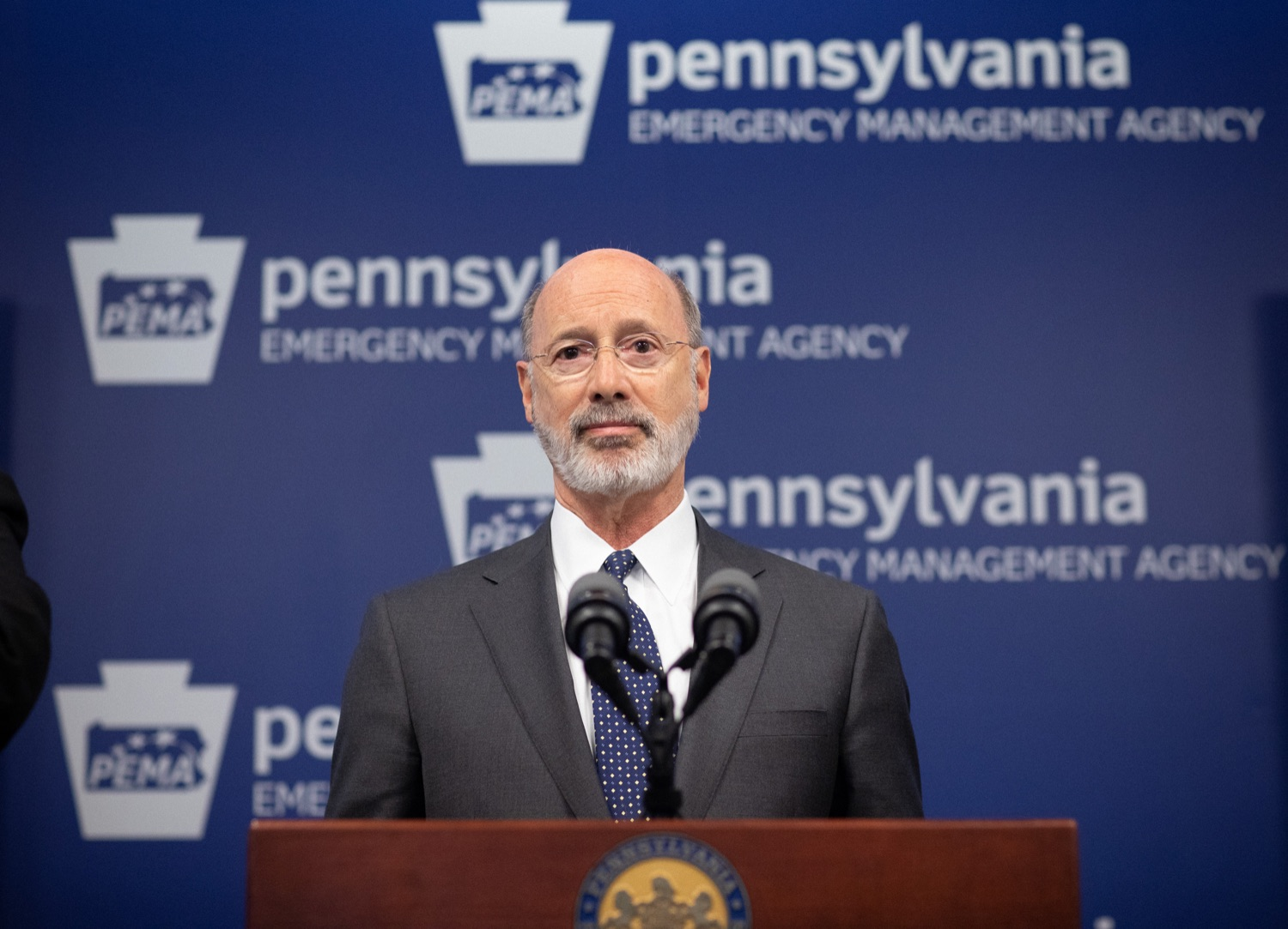 """<a href=""""https://filesource.wostreaming.net/commonwealthofpa/photo/17888_gov_covid19_update_dz_0007.jpg"""" target=""""_blank"""">⇣Download Photo<br></a>Governor Tom Wolf  speaking to reporters. Governor Tom Wolf and Secretary of Health Dr. Rachel Levine provided an update on the coronavirus known as COVID-19 and outline ongoing efforts to mitigate the virus in Pennsylvania. The Department of Health anticipates that there will be more Pennsylvanians who test positive for COVID-19 in the coming days and weeks and it is important for residents to know the commonwealth is prepared and to be prepared themselves. People have a higher chance of testing positive for COVID-19 if they have traveled to a country or state with known community outbreaks or have come in contact with someone who has the virus. The Wolf Administration is working with the health care community across Pennsylvania to keep them informed, consult on patient testing, and ensure they have the resources they need to care for patients. .March 16, 2020  Harrisburg Pa."""