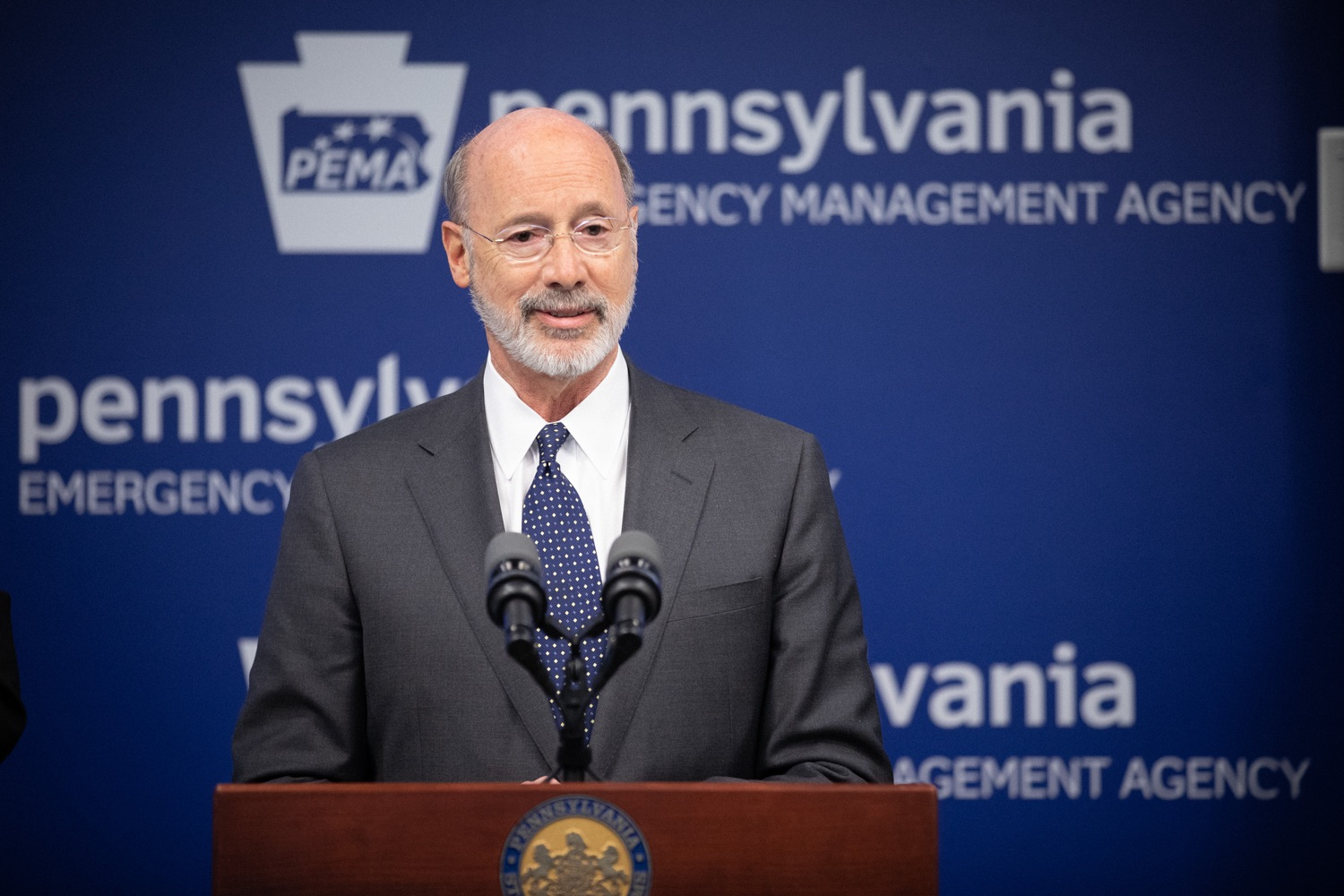 """<a href=""""https://filesource.wostreaming.net/commonwealthofpa/photo/17888_gov_covid19_update_dz_0010.jpg"""" target=""""_blank"""">⇣Download Photo<br></a>Governor Tom Wolf  speaking to reporters. Governor Tom Wolf and Secretary of Health Dr. Rachel Levine provided an update on the coronavirus known as COVID-19 and outline ongoing efforts to mitigate the virus in Pennsylvania. The Department of Health anticipates that there will be more Pennsylvanians who test positive for COVID-19 in the coming days and weeks and it is important for residents to know the commonwealth is prepared and to be prepared themselves. People have a higher chance of testing positive for COVID-19 if they have traveled to a country or state with known community outbreaks or have come in contact with someone who has the virus. The Wolf Administration is working with the health care community across Pennsylvania to keep them informed, consult on patient testing, and ensure they have the resources they need to care for patients. .March 16, 2020  Harrisburg Pa."""
