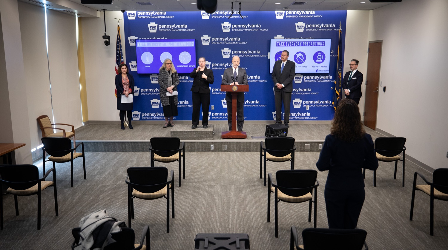 """<a href=""""https://filesource.wostreaming.net/commonwealthofpa/photo/17888_gov_covid19_update_dz_0012.jpg"""" target=""""_blank"""">⇣Download Photo<br></a>Governor Tom Wolf  answers questions submitted by reporters at a virtual press conference. Governor Tom Wolf and Secretary of Health Dr. Rachel Levine provided an update on the coronavirus known as COVID-19 and outline ongoing efforts to mitigate the virus in Pennsylvania. The Department of Health anticipates that there will be more Pennsylvanians who test positive for COVID-19 in the coming days and weeks and it is important for residents to know the commonwealth is prepared and to be prepared themselves. People have a higher chance of testing positive for COVID-19 if they have traveled to a country or state with known community outbreaks or have come in contact with someone who has the virus. The Wolf Administration is working with the health care community across Pennsylvania to keep them informed, consult on patient testing, and ensure they have the resources they need to care for patients. .March 16, 2020  Harrisburg Pa."""