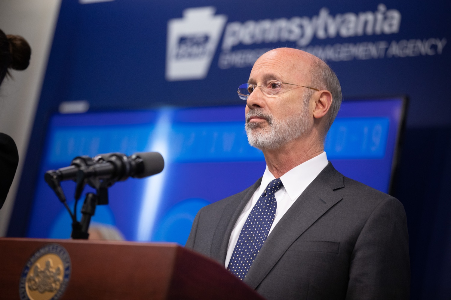 """<a href=""""https://filesource.wostreaming.net/commonwealthofpa/photo/17888_gov_covid19_update_dz_0013.jpg"""" target=""""_blank"""">⇣Download Photo<br></a>Governor Tom Wolf  speaking to reporters. Governor Tom Wolf and Secretary of Health Dr. Rachel Levine provided an update on the coronavirus known as COVID-19 and outline ongoing efforts to mitigate the virus in Pennsylvania. The Department of Health anticipates that there will be more Pennsylvanians who test positive for COVID-19 in the coming days and weeks and it is important for residents to know the commonwealth is prepared and to be prepared themselves. People have a higher chance of testing positive for COVID-19 if they have traveled to a country or state with known community outbreaks or have come in contact with someone who has the virus. The Wolf Administration is working with the health care community across Pennsylvania to keep them informed, consult on patient testing, and ensure they have the resources they need to care for patients. .March 16, 2020  Harrisburg Pa."""