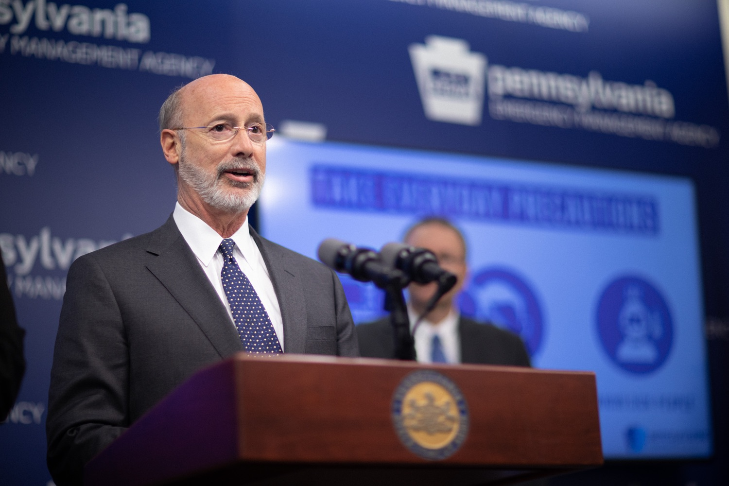 """<a href=""""https://filesource.wostreaming.net/commonwealthofpa/photo/17888_gov_covid19_update_dz_0015.jpg"""" target=""""_blank"""">⇣Download Photo<br></a>Governor Tom Wolf  speaking to reporters. Governor Tom Wolf and Secretary of Health Dr. Rachel Levine provided an update on the coronavirus known as COVID-19 and outline ongoing efforts to mitigate the virus in Pennsylvania. The Department of Health anticipates that there will be more Pennsylvanians who test positive for COVID-19 in the coming days and weeks and it is important for residents to know the commonwealth is prepared and to be prepared themselves. People have a higher chance of testing positive for COVID-19 if they have traveled to a country or state with known community outbreaks or have come in contact with someone who has the virus. The Wolf Administration is working with the health care community across Pennsylvania to keep them informed, consult on patient testing, and ensure they have the resources they need to care for patients. .March 16, 2020  Harrisburg Pa."""