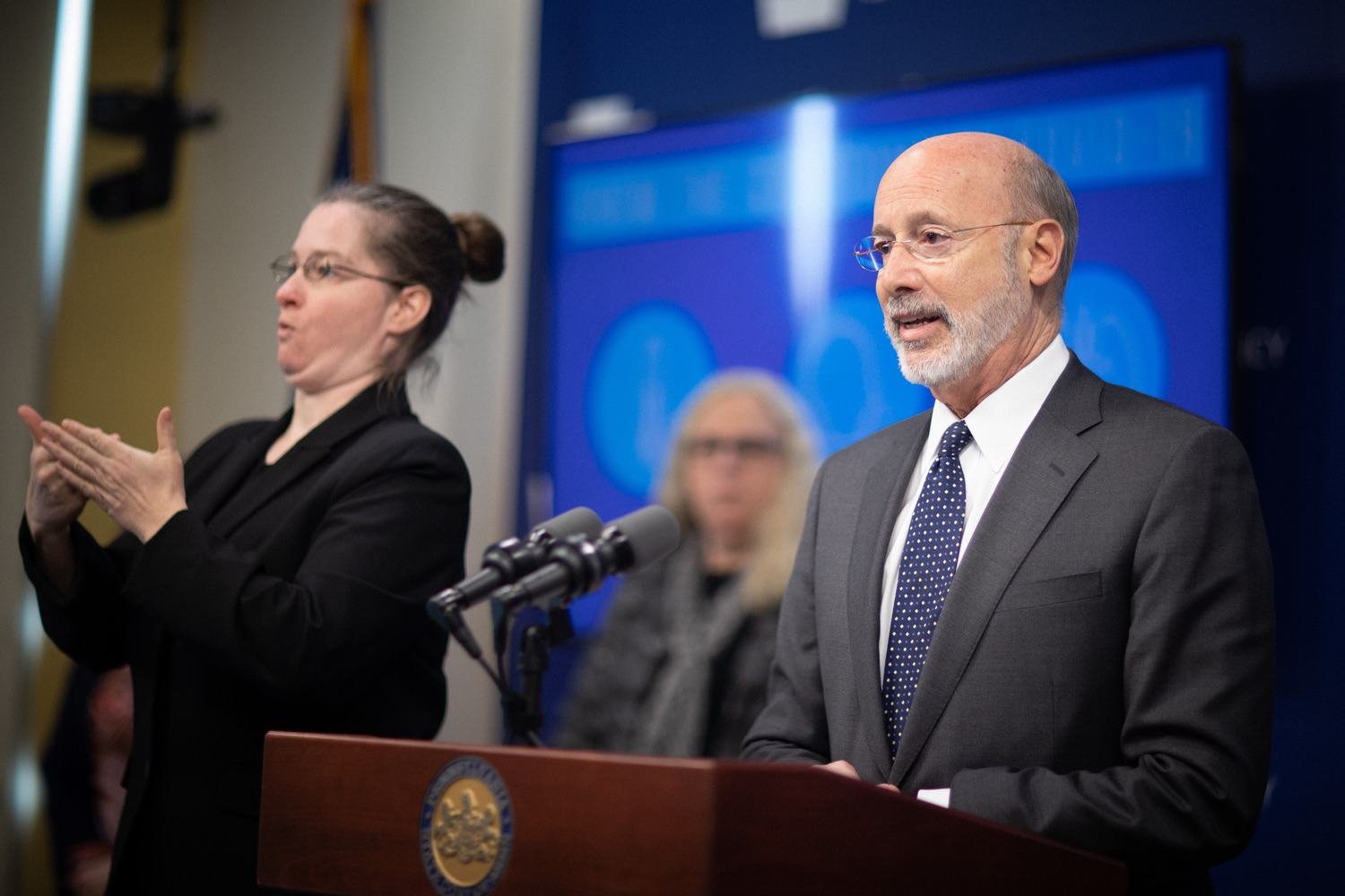 """<a href=""""https://filesource.wostreaming.net/commonwealthofpa/photo/17888_gov_covid19_update_dz_0018.jpg"""" target=""""_blank"""">⇣Download Photo<br></a>Governor Tom Wolf  speaking to reporters. Governor Tom Wolf and Secretary of Health Dr. Rachel Levine provided an update on the coronavirus known as COVID-19 and outline ongoing efforts to mitigate the virus in Pennsylvania. The Department of Health anticipates that there will be more Pennsylvanians who test positive for COVID-19 in the coming days and weeks and it is important for residents to know the commonwealth is prepared and to be prepared themselves. People have a higher chance of testing positive for COVID-19 if they have traveled to a country or state with known community outbreaks or have come in contact with someone who has the virus. The Wolf Administration is working with the health care community across Pennsylvania to keep them informed, consult on patient testing, and ensure they have the resources they need to care for patients. .March 16, 2020  Harrisburg Pa."""