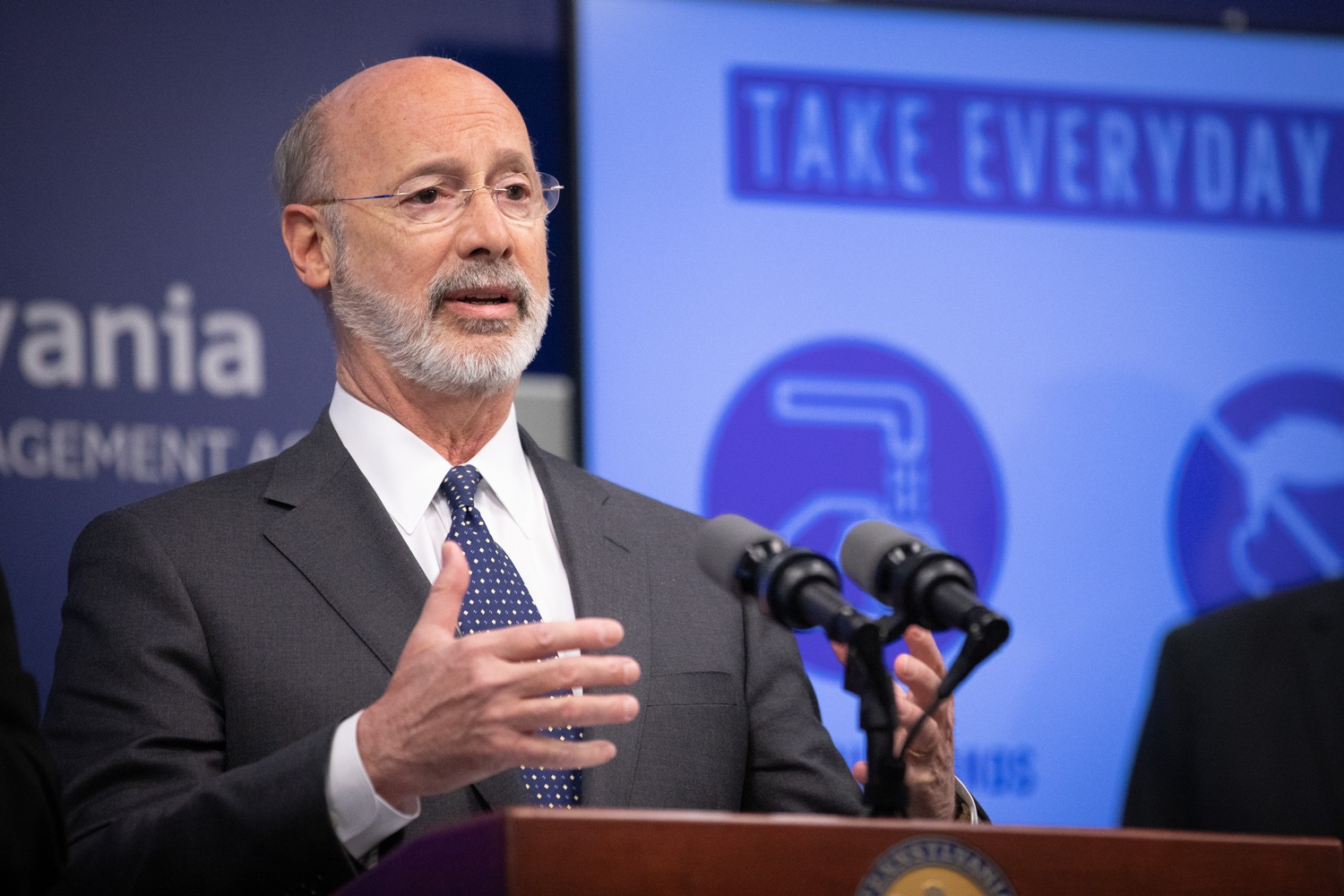 """<a href=""""https://filesource.wostreaming.net/commonwealthofpa/photo/17888_gov_covid19_update_dz_0020.jpg"""" target=""""_blank"""">⇣Download Photo<br></a>Governor Tom Wolf  speaking to reporters. Governor Tom Wolf and Secretary of Health Dr. Rachel Levine provided an update on the coronavirus known as COVID-19 and outline ongoing efforts to mitigate the virus in Pennsylvania. The Department of Health anticipates that there will be more Pennsylvanians who test positive for COVID-19 in the coming days and weeks and it is important for residents to know the commonwealth is prepared and to be prepared themselves. People have a higher chance of testing positive for COVID-19 if they have traveled to a country or state with known community outbreaks or have come in contact with someone who has the virus. The Wolf Administration is working with the health care community across Pennsylvania to keep them informed, consult on patient testing, and ensure they have the resources they need to care for patients. .March 16, 2020  Harrisburg Pa."""