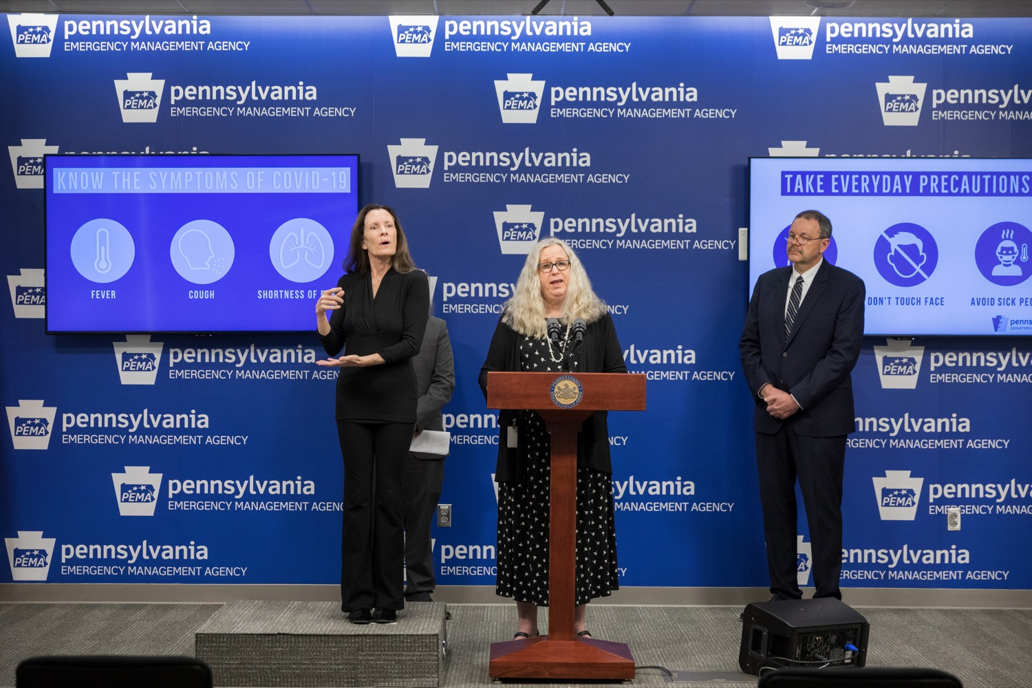 """<a href=""""https://filesource.wostreaming.net/commonwealthofpa/photo/17889_DOH_Corona_Update_96_NK_007.jpg"""" target=""""_blank"""">⇣Download Photo<br></a>Pennsylvania Department of Health Secretary Dr. Rachel Levine speaks during a press conference, announcing the 96th presumptive positive case of 2019 Novel Coronavirus (COVID-19) in Pennsylvania, inside PEMA headquarters on Tuesday, March 17, 2020."""