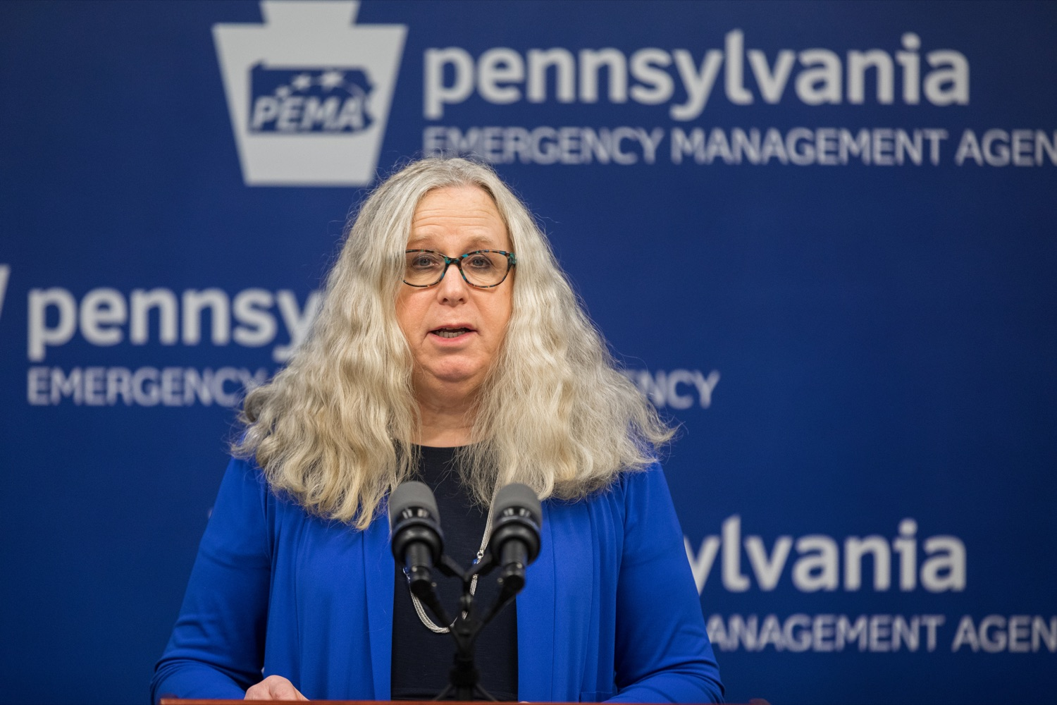 "<a href=""https://filesource.wostreaming.net/commonwealthofpa/photo/17890_DOH_Corona_Update_133_NK_002.jpg"" target=""_blank"">⇣ Download Photo<br></a>Pennsylvania Department of Health Secretary Dr. Rachel Levine speaks during a press conference, announcing the 133rd presumptive positive case of 2019 Novel Coronavirus (COVID-19) in Pennsylvania, inside PEMA headquarters on Wednesday, March 18, 2020."