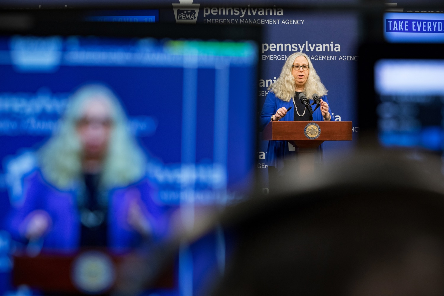 "<a href=""https://filesource.wostreaming.net/commonwealthofpa/photo/17890_DOH_Corona_Update_133_NK_004.jpg"" target=""_blank"">⇣ Download Photo<br></a>Pennsylvania Department of Health Secretary Dr. Rachel Levine speaks during a press conference, announcing the 133rd presumptive positive case of 2019 Novel Coronavirus (COVID-19) in Pennsylvania, inside PEMA headquarters on Wednesday, March 18, 2020."