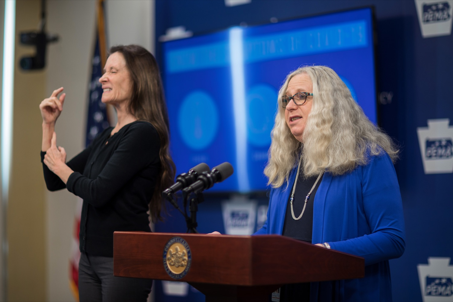 """<a href=""""https://filesource.wostreaming.net/commonwealthofpa/photo/17890_DOH_Corona_Update_133_NK_013.jpg"""" target=""""_blank"""">⇣Download Photo<br></a>Pennsylvania Department of Health Secretary Dr. Rachel Levine speaks during a press conference, announcing the 133rd presumptive positive case of 2019 Novel Coronavirus (COVID-19) in Pennsylvania, inside PEMA headquarters on Wednesday, March 18, 2020."""