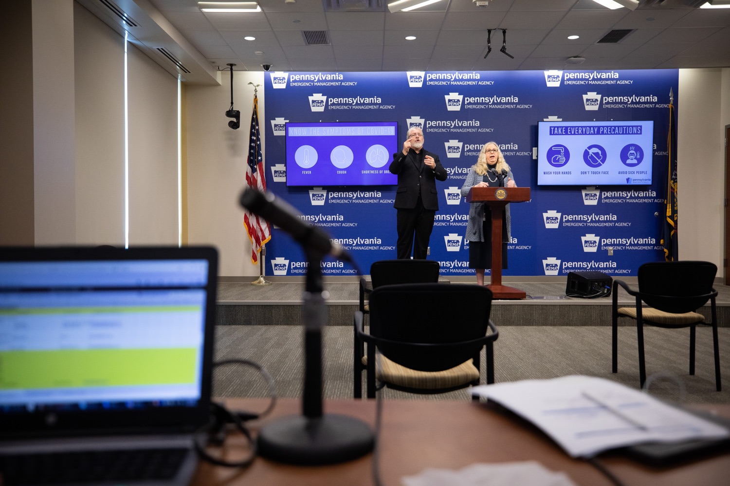 "<a href=""https://filesource.wostreaming.net/commonwealthofpa/photo/17894_doh_covid19_update_dz_0006.jpg"" target=""_blank"">⇣ Download Photo<br></a>Secretary of Health Dr. Rachel Levine speaking at the virtual press conference.  The Pennsylvania Department of Health today confirmed as of 12:00 a.m., March 19, that there are 52 additional positive cases of COVID-19 reported, bringing the statewide total to 185. The state also reported one death, an adult from Northampton County. All people are either in isolation at home or being treated at the hospital. Harrisburg, PA- March 19, 2020"