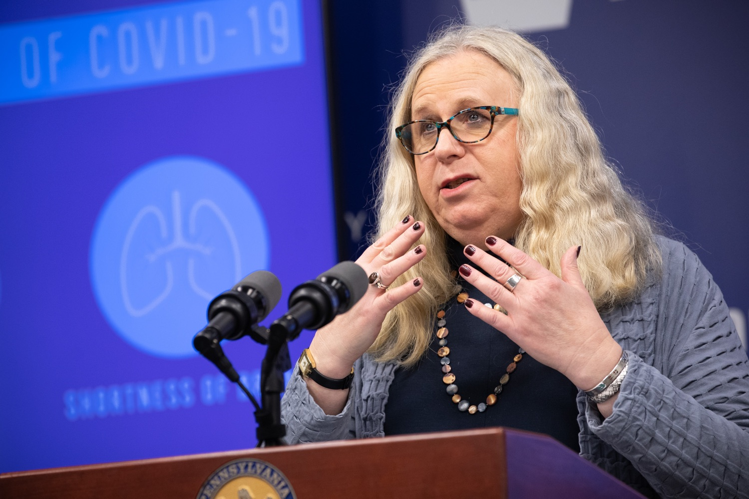 "<a href=""https://filesource.wostreaming.net/commonwealthofpa/photo/17894_doh_covid19_update_dz_0012.jpg"" target=""_blank"">⇣ Download Photo<br></a>Secretary of Health Dr. Rachel Levine speaking at the virtual press conference.  The Pennsylvania Department of Health today confirmed as of 12:00 a.m., March 19, that there are 52 additional positive cases of COVID-19 reported, bringing the statewide total to 185. The state also reported one death, an adult from Northampton County. All people are either in isolation at home or being treated at the hospital. Harrisburg, PA- March 19, 2020"