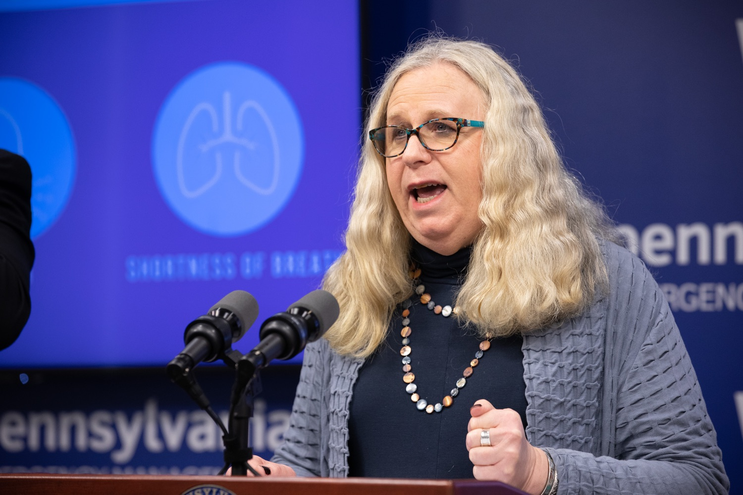 "<a href=""https://filesource.wostreaming.net/commonwealthofpa/photo/17894_doh_covid19_update_dz_0013.jpg"" target=""_blank"">⇣ Download Photo<br></a>Secretary of Health Dr. Rachel Levine speaking at the virtual press conference.  The Pennsylvania Department of Health today confirmed as of 12:00 a.m., March 19, that there are 52 additional positive cases of COVID-19 reported, bringing the statewide total to 185. The state also reported one death, an adult from Northampton County. All people are either in isolation at home or being treated at the hospital. Harrisburg, PA- March 19, 2020"