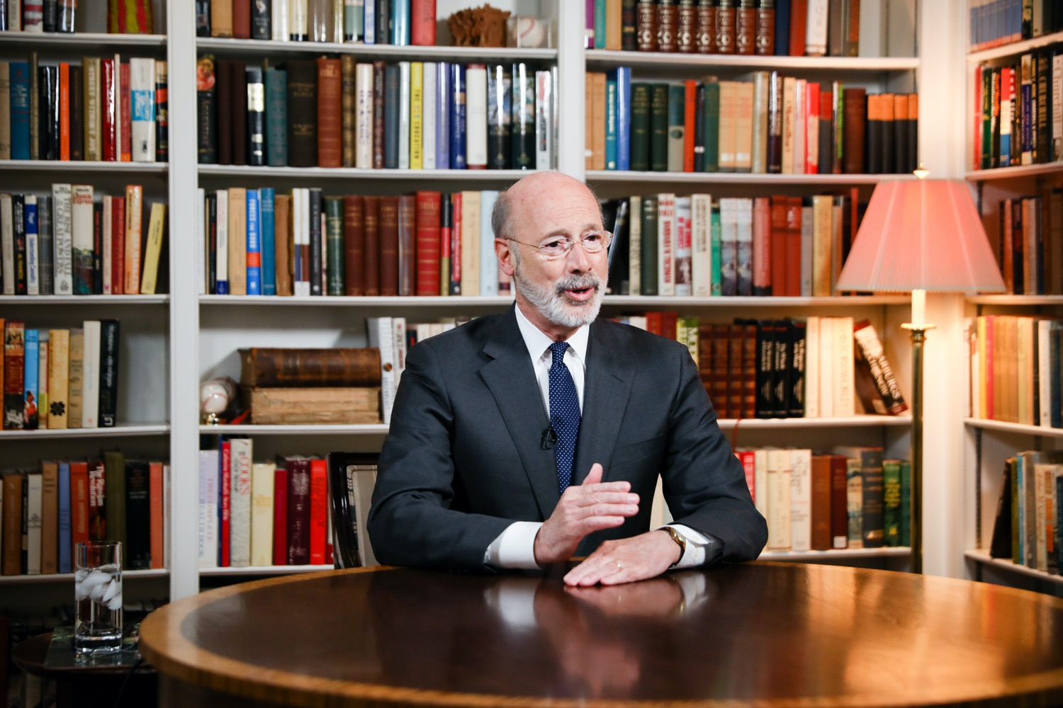 """<a href=""""https://filesource.wostreaming.net/commonwealthofpa/photo/17895_gov_covid_update_amb_001.jpg"""" target=""""_blank"""">⇣Download Photo<br></a>Governor Wolf provides a video statement on COVID-19 from his home in York County. March 19, 2020."""