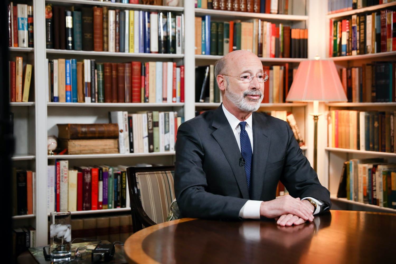 """<a href=""""https://filesource.wostreaming.net/commonwealthofpa/photo/17895_gov_covid_update_amb_002.jpg"""" target=""""_blank"""">⇣Download Photo<br></a>Governor Wolf provides a video statement on COVID-19 from his home in York County. March 19, 2020."""