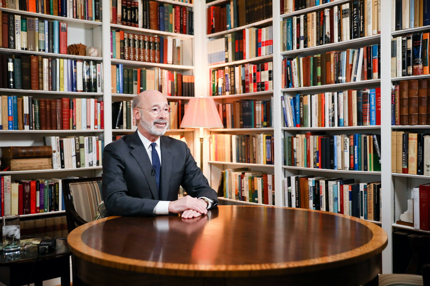 """<a href=""""https://filesource.wostreaming.net/commonwealthofpa/photo/17895_gov_covid_update_amb_003.jpg"""" target=""""_blank"""">⇣Download Photo<br></a>Governor Wolf provides a video statement on COVID-19 from his home in York County. March 19, 2020."""