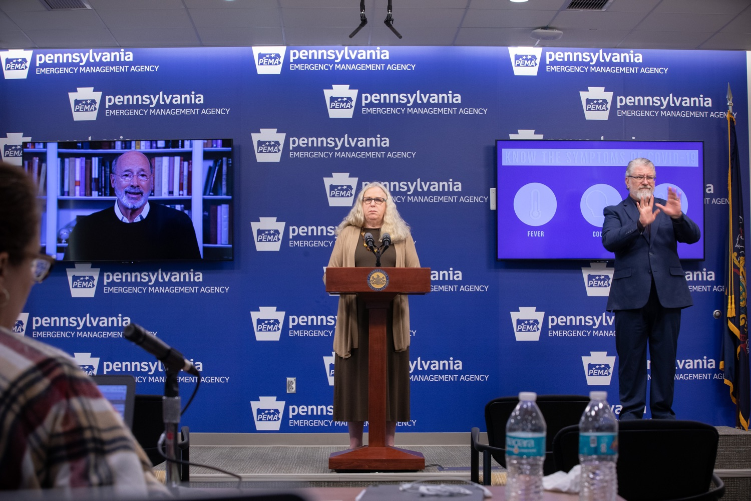 "<a href=""https://filesource.wostreaming.net/commonwealthofpa/photo/17897_gov_doh_update_dz_0002.JPG"" target=""_blank"">⇣ Download Photo<br></a>Secretary of Health Dr. Rachel Levine speaking at the virtual press conference. The Pennsylvania Department of Health today confirmed as of 12:00 a.m., March 20, that there are 83 additional positive cases of COVID-19 reported, bringing the statewide total to 268. County-specific information and a statewide map are available here. All people are either in isolation at home or being treated at the hospital.  Harrisburg, PA- March 20, 2020"