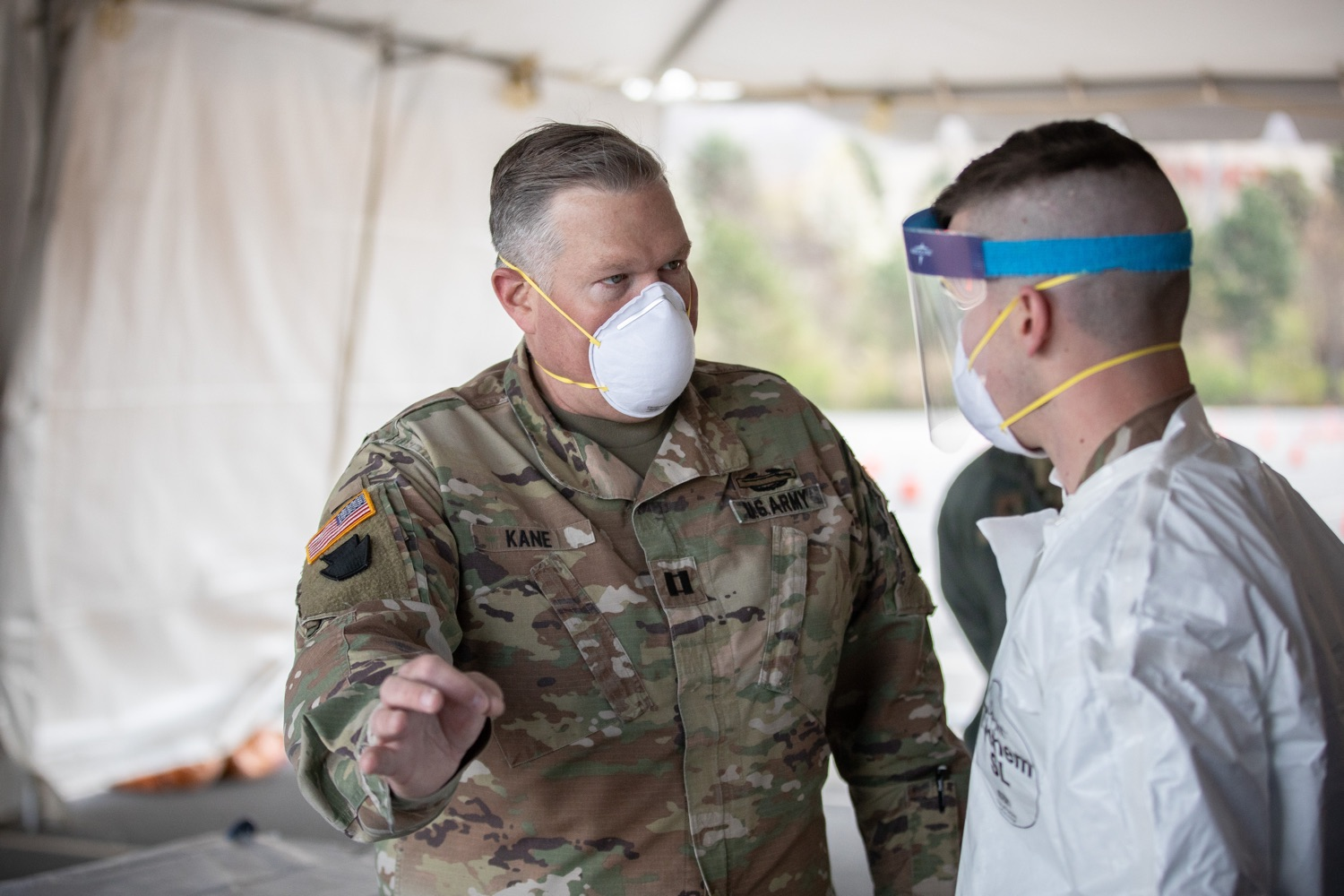 "<a href=""https://filesource.wostreaming.net/commonwealthofpa/photo/17965_doh_Testing_Site_dz_dz_0017.jpg"" target=""_blank"">⇣ Download Photo<br></a>Pennsylvania National Guard Capt. James Kane explaining procedures at the testing site.The Wolf Administration provided pictures of the COVID-19 testing site at Mohegan Sun Arena at Casey Plaza in Wilkes-Barre, Luzerne County, that will provide much-needed testing for symptomatic first responders, health care workers and residents 65 or older throughout Northeastern Pennsylvania.  Monday, April 20, 2020 - Wilkes-Barre, Luzerne County"