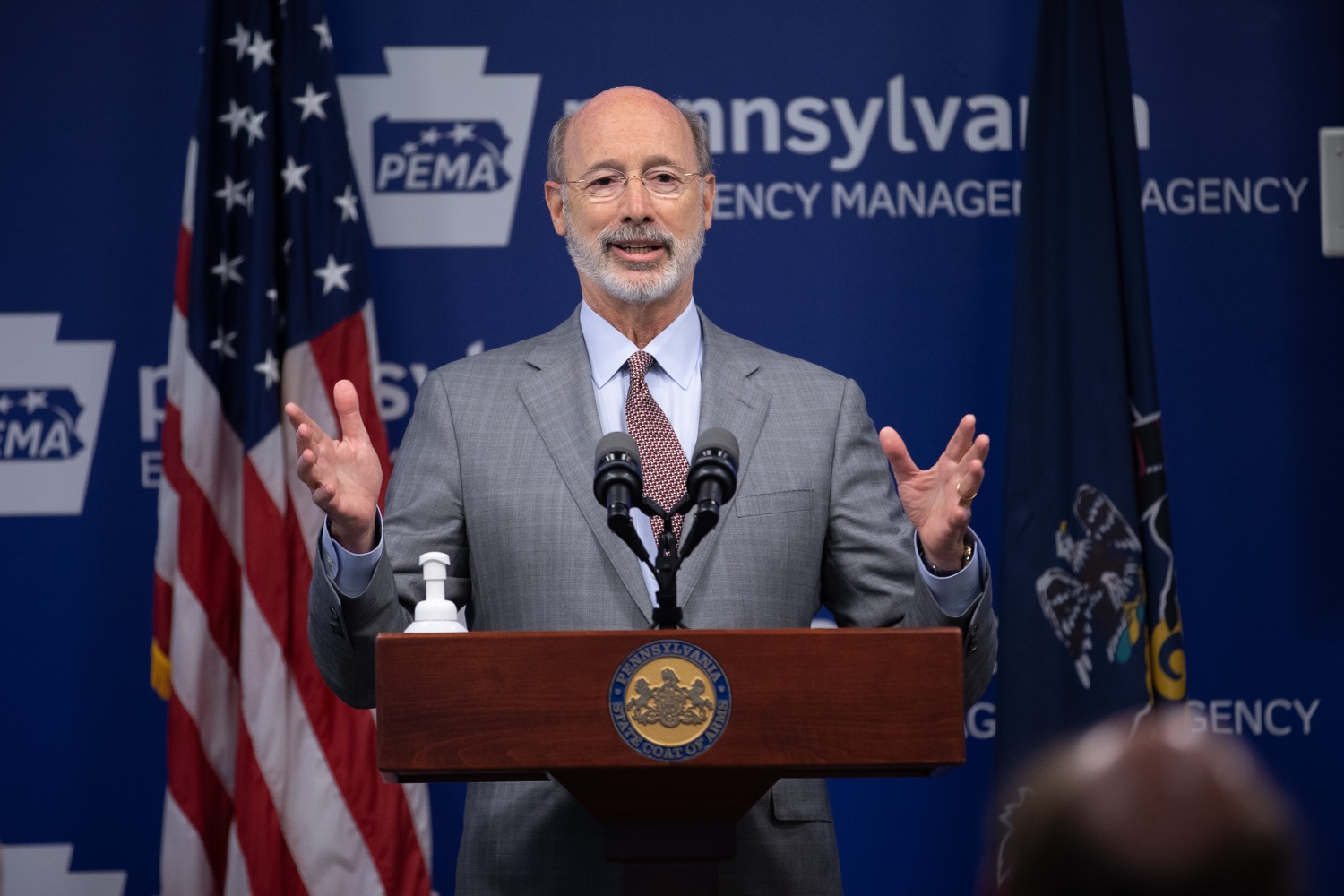"""<a href=""""https://filesource.wostreaming.net/commonwealthofpa/photo/18074_gov_doh_covid_update_dz_0001.JPG"""" target=""""_blank"""">⇣Download Photo<br></a>Pennsylvania Governor Tom Wolf answering questions from the press.  Governor Tom Wolf today announced a $225 million statewide grant program to support small businesses that were impacted by the COVID-19 public health crisis and subsequent business closure order.   Harrisburg, PA   June 8, 2020"""