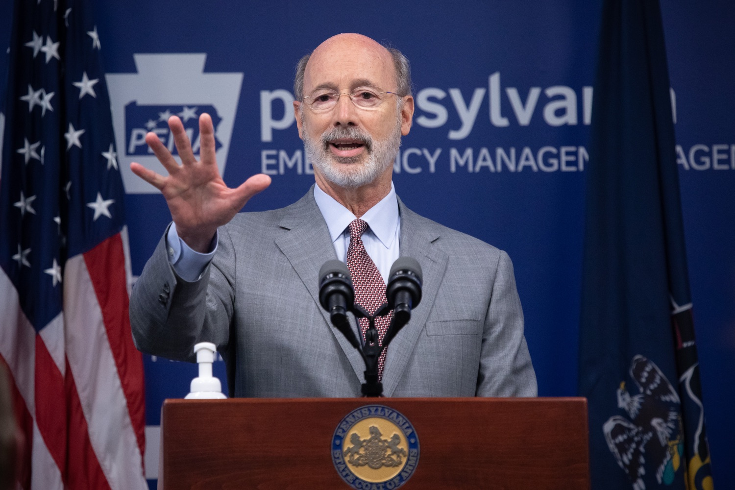 """<a href=""""https://filesource.wostreaming.net/commonwealthofpa/photo/18074_gov_doh_covid_update_dz_0004.JPG"""" target=""""_blank"""">⇣Download Photo<br></a>Pennsylvania Governor Tom Wolf answering questions from the press.  Governor Tom Wolf today announced a $225 million statewide grant program to support small businesses that were impacted by the COVID-19 public health crisis and subsequent business closure order.   Harrisburg, PA   June 8, 2020"""