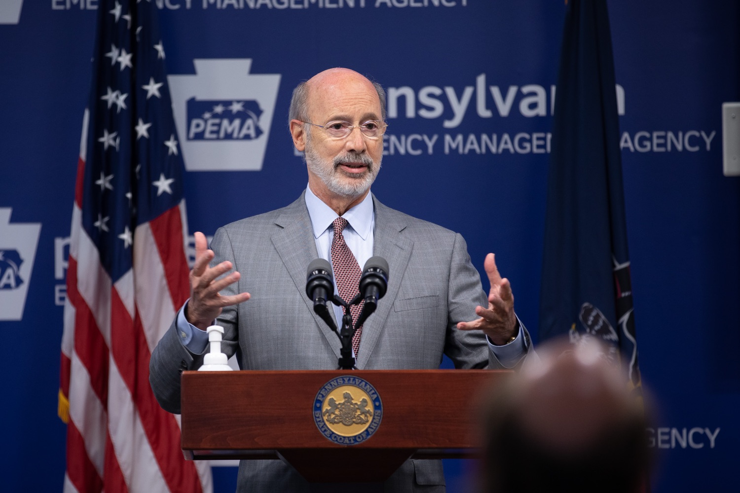 """<a href=""""https://filesource.wostreaming.net/commonwealthofpa/photo/18074_gov_doh_covid_update_dz_0008.JPG"""" target=""""_blank"""">⇣Download Photo<br></a>Pennsylvania Governor Tom Wolf answering questions from the press.  Governor Tom Wolf today announced a $225 million statewide grant program to support small businesses that were impacted by the COVID-19 public health crisis and subsequent business closure order.   Harrisburg, PA   June 8, 2020"""